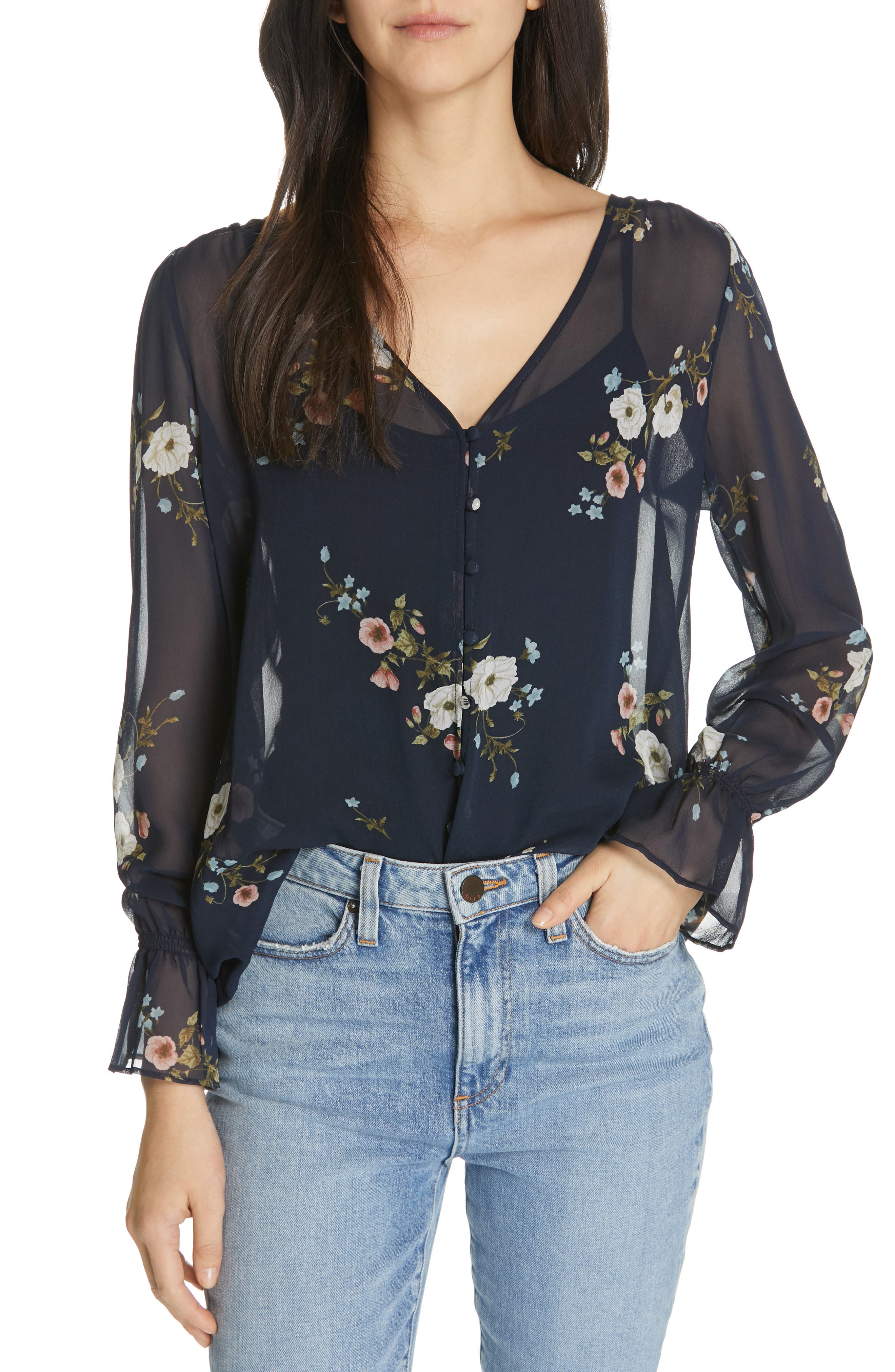 JOIE Bolona Floral Silk Blouse, Main, color, MIDNIGHT