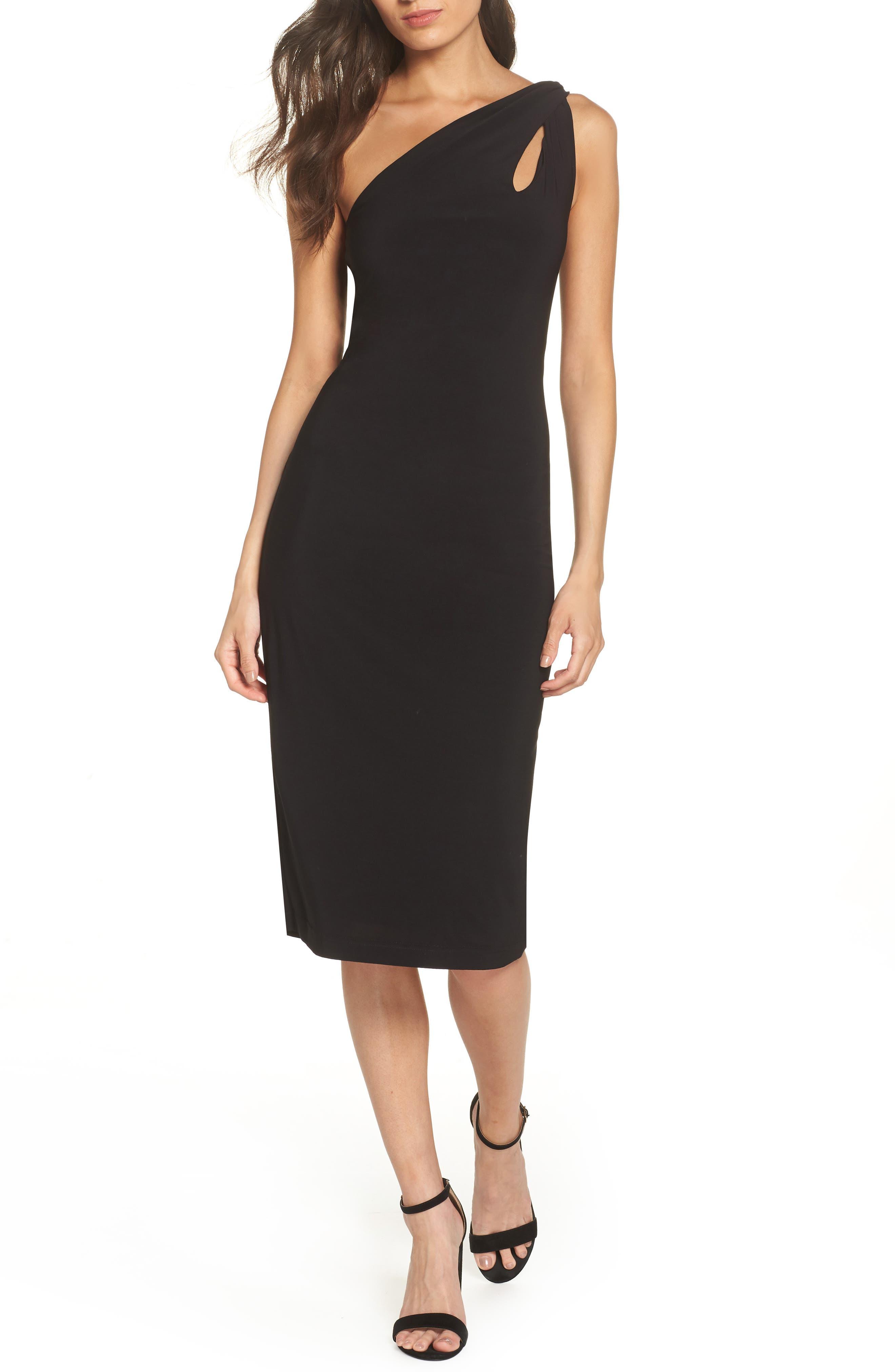 One-Shoulder Dress,                         Main,                         color, BLACK