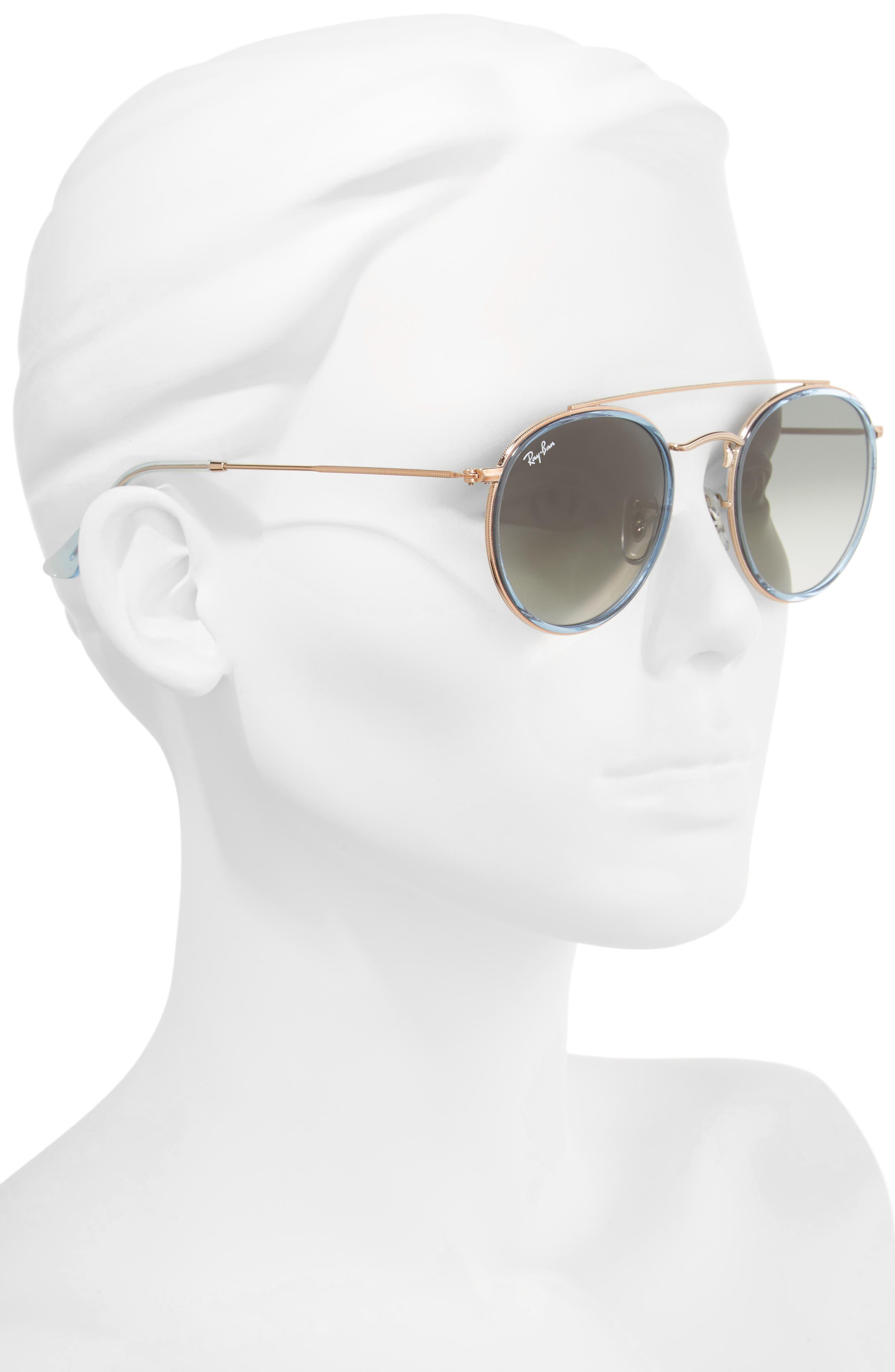 51mm Aviator Gradient Lens Sunglasses,                             Alternate thumbnail 8, color,