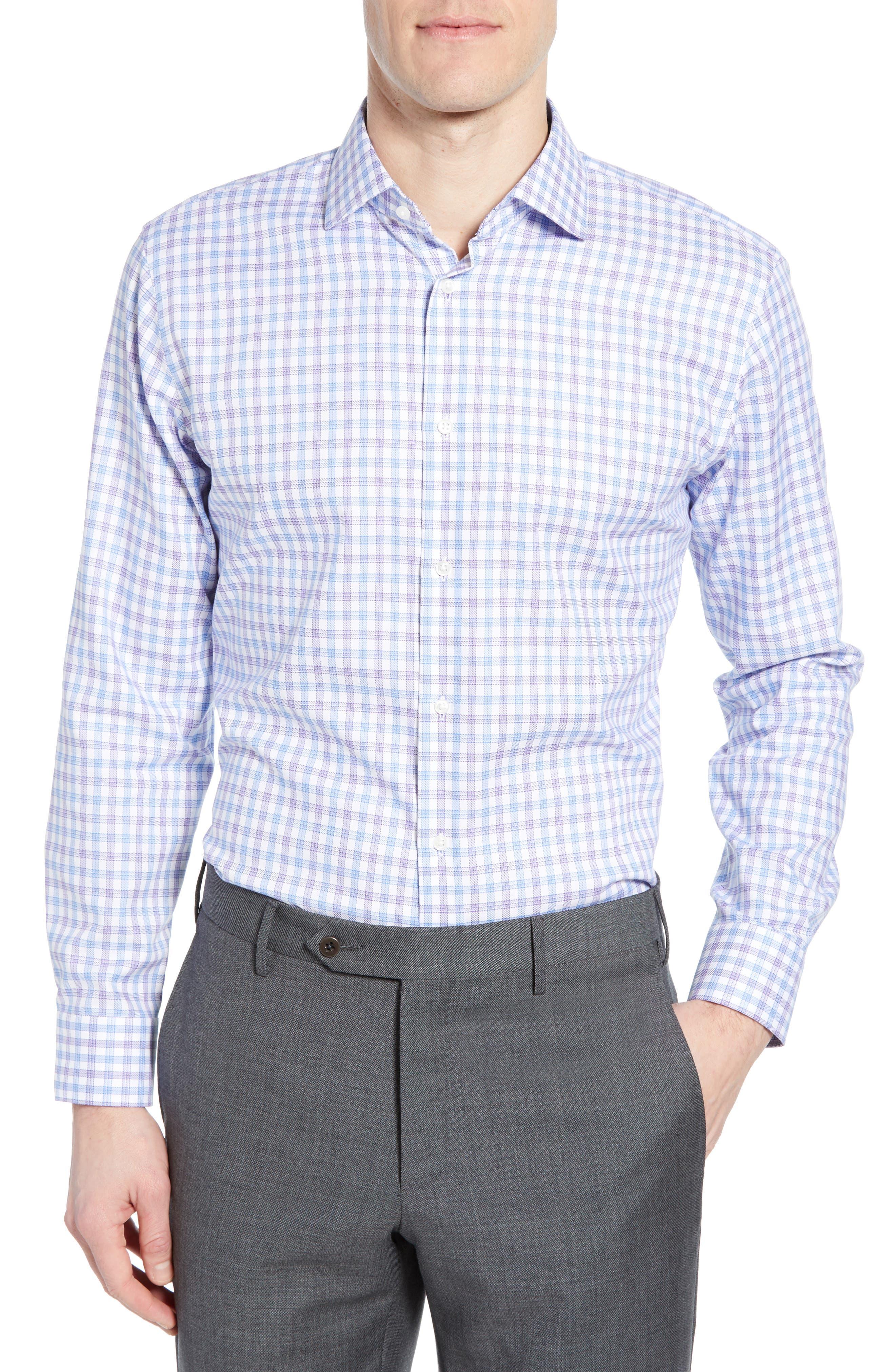 Tech-Smart Trim Fit Stretch Check Dress Shirt,                             Main thumbnail 1, color,                             RED SAUCY