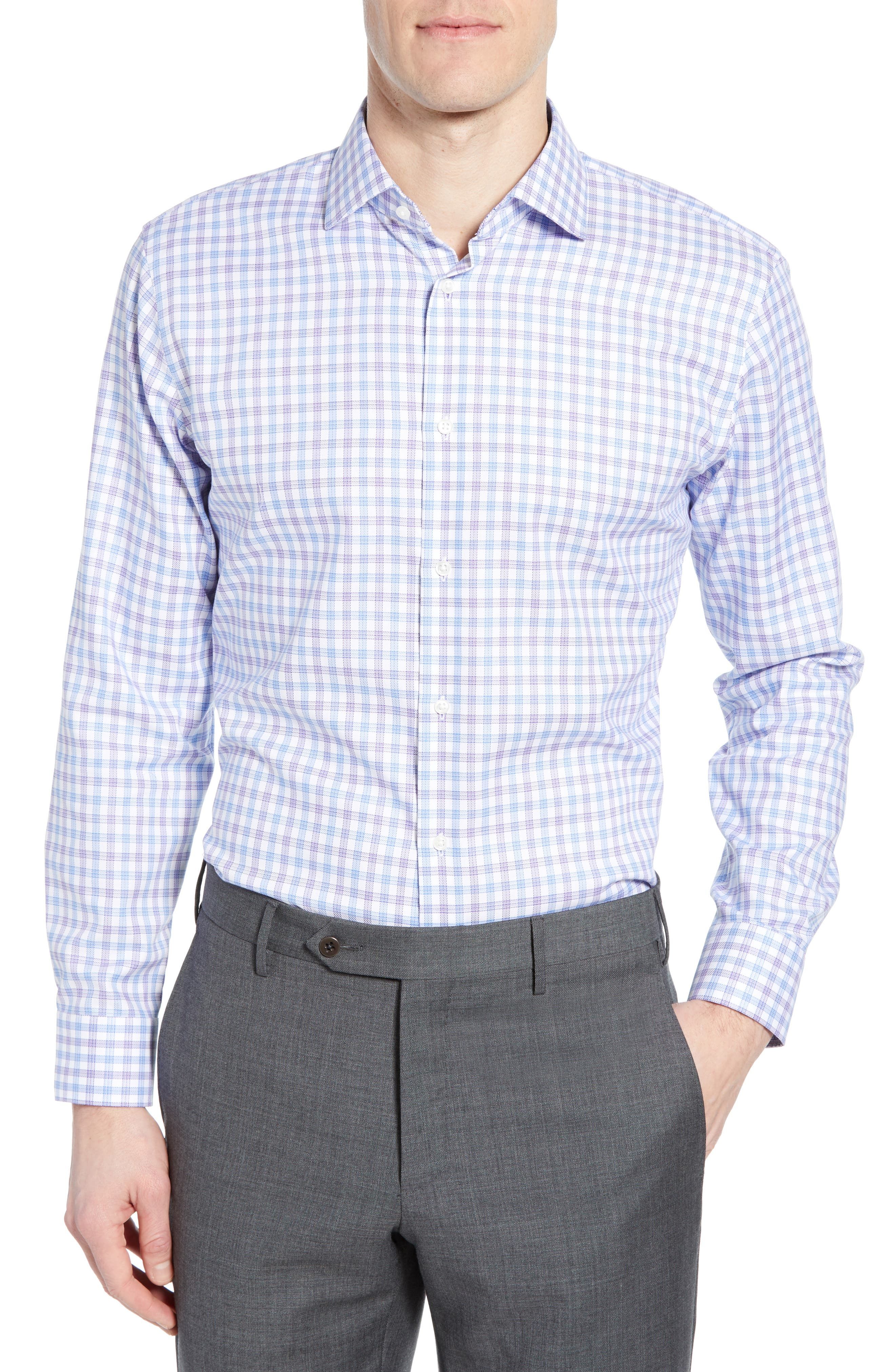 Tech-Smart Trim Fit Stretch Check Dress Shirt, Main, color, RED SAUCY