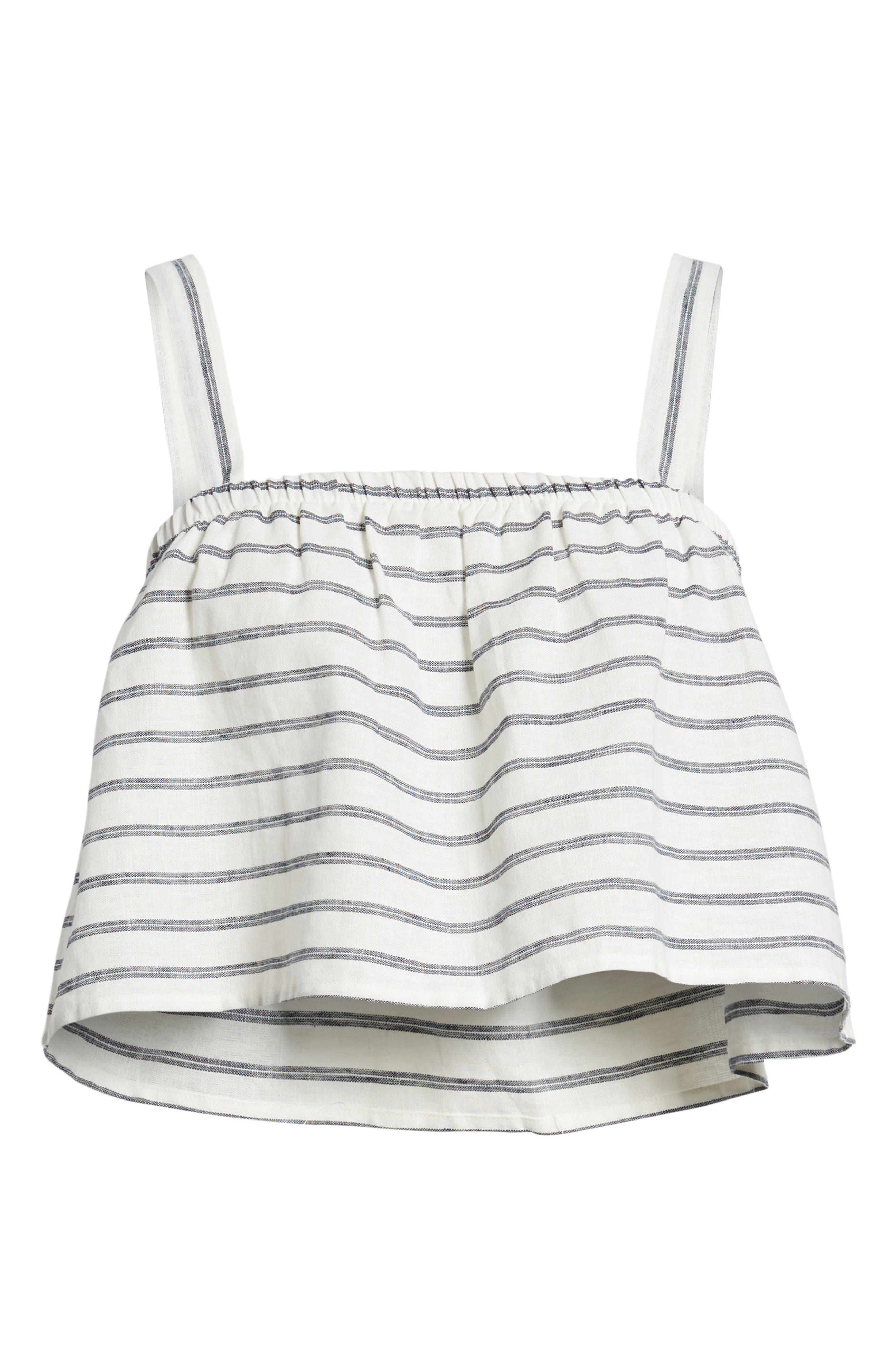 Stripe Linen & Cotton Crop Tank,                             Alternate thumbnail 6, color,                             904