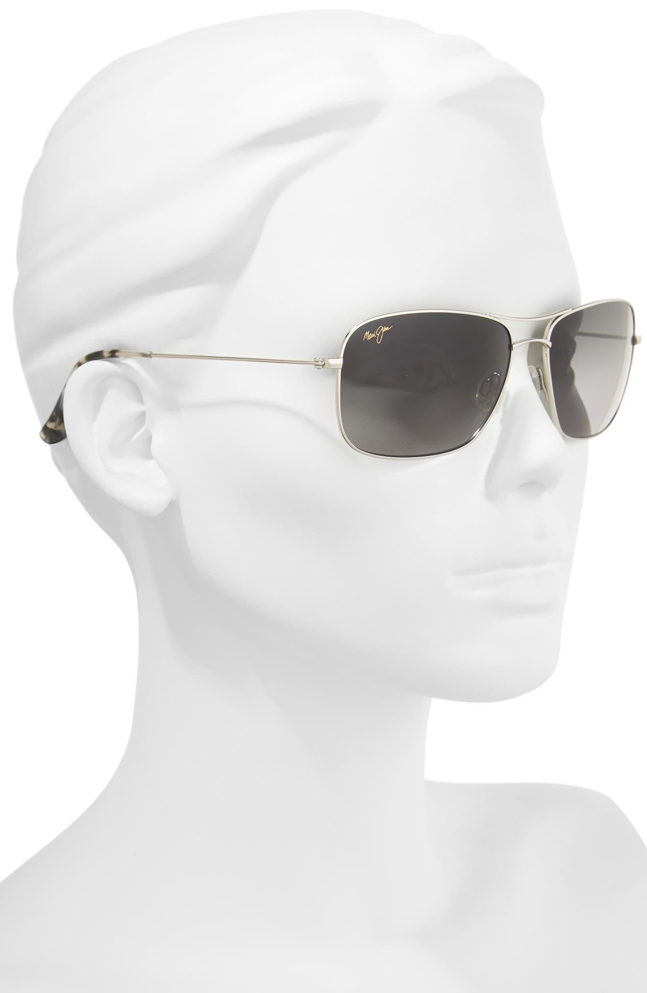 Wiki Wiki 59mm PolarizedPlus2<sup>®</sup> Aviator Sunglasses,                             Alternate thumbnail 3, color,                             SILVER/ NEUTRAL GREY