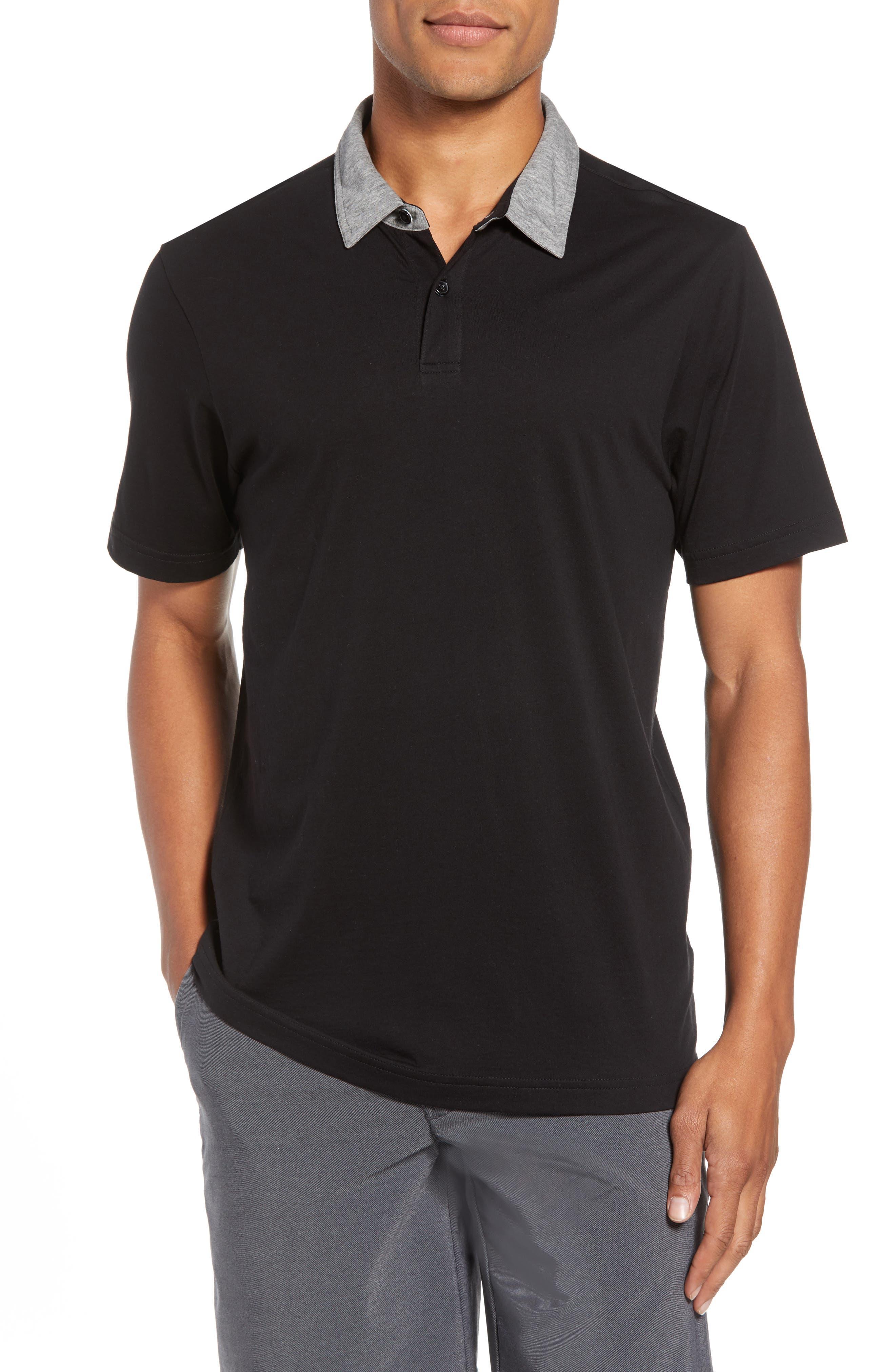 Rupert Short Sleeve Regular Fit Polo Shirt,                             Main thumbnail 1, color,                             BLACK