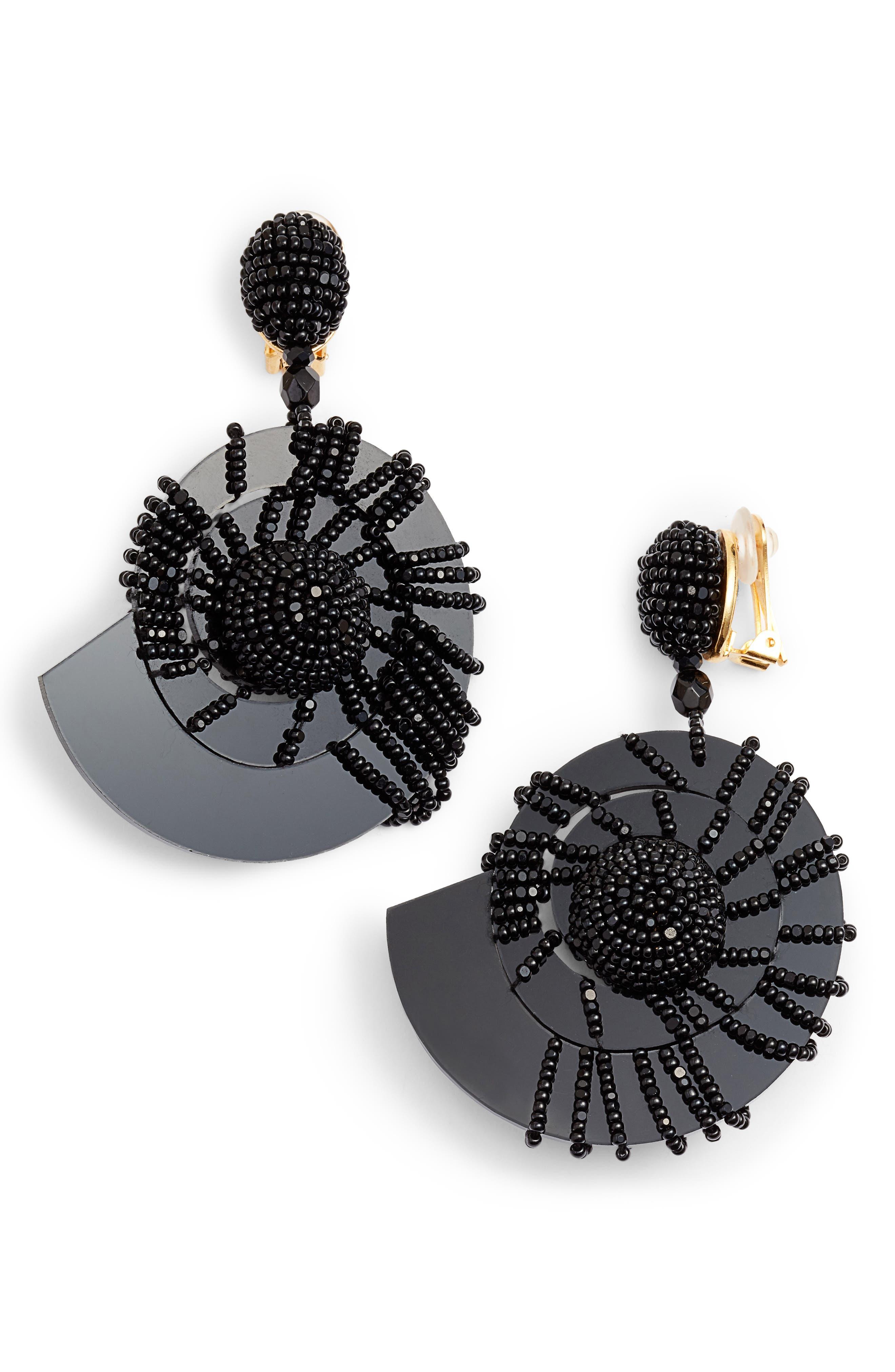Beaded Seashell Earrings,                             Main thumbnail 1, color,                             001