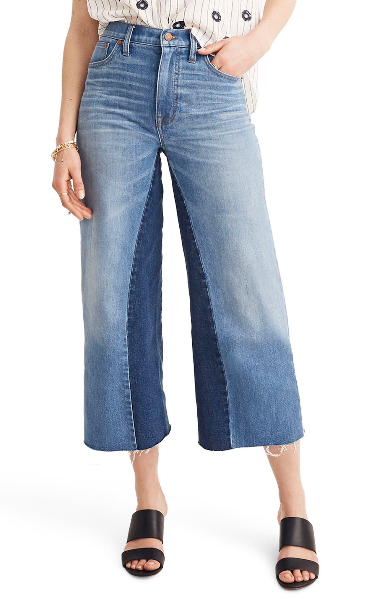 Gusset Crop Wide Leg Jeans,                         Main,                         color, 400