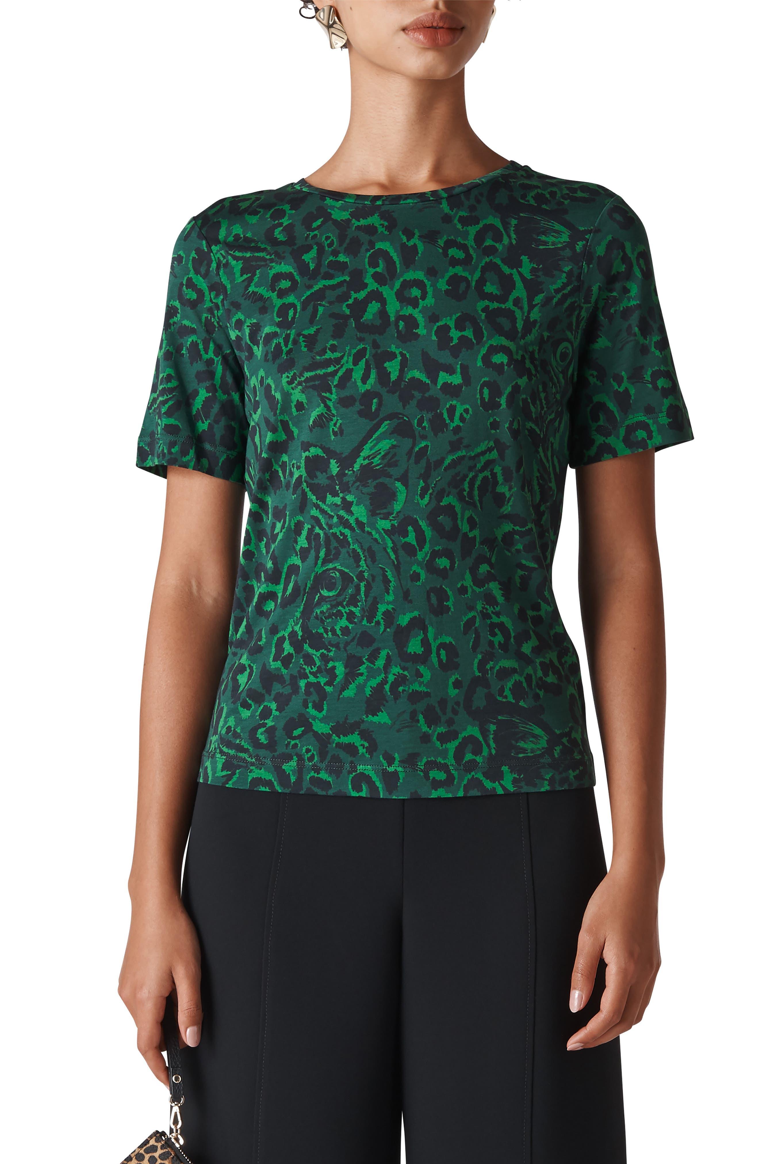 Jungle Cat Animal Print Tee in Green/ Multi