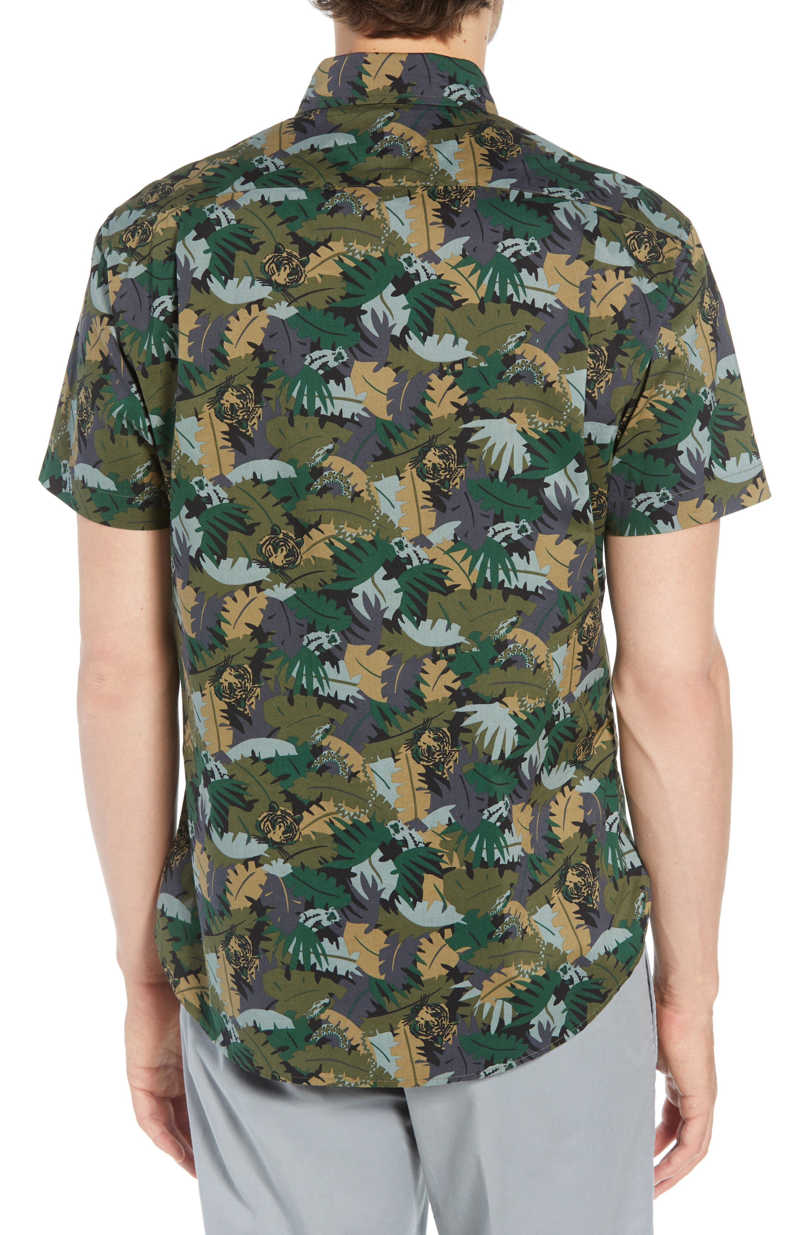 Riviera Slim Fit Jungle Camo Sport Shirt,                             Alternate thumbnail 3, color,                             001