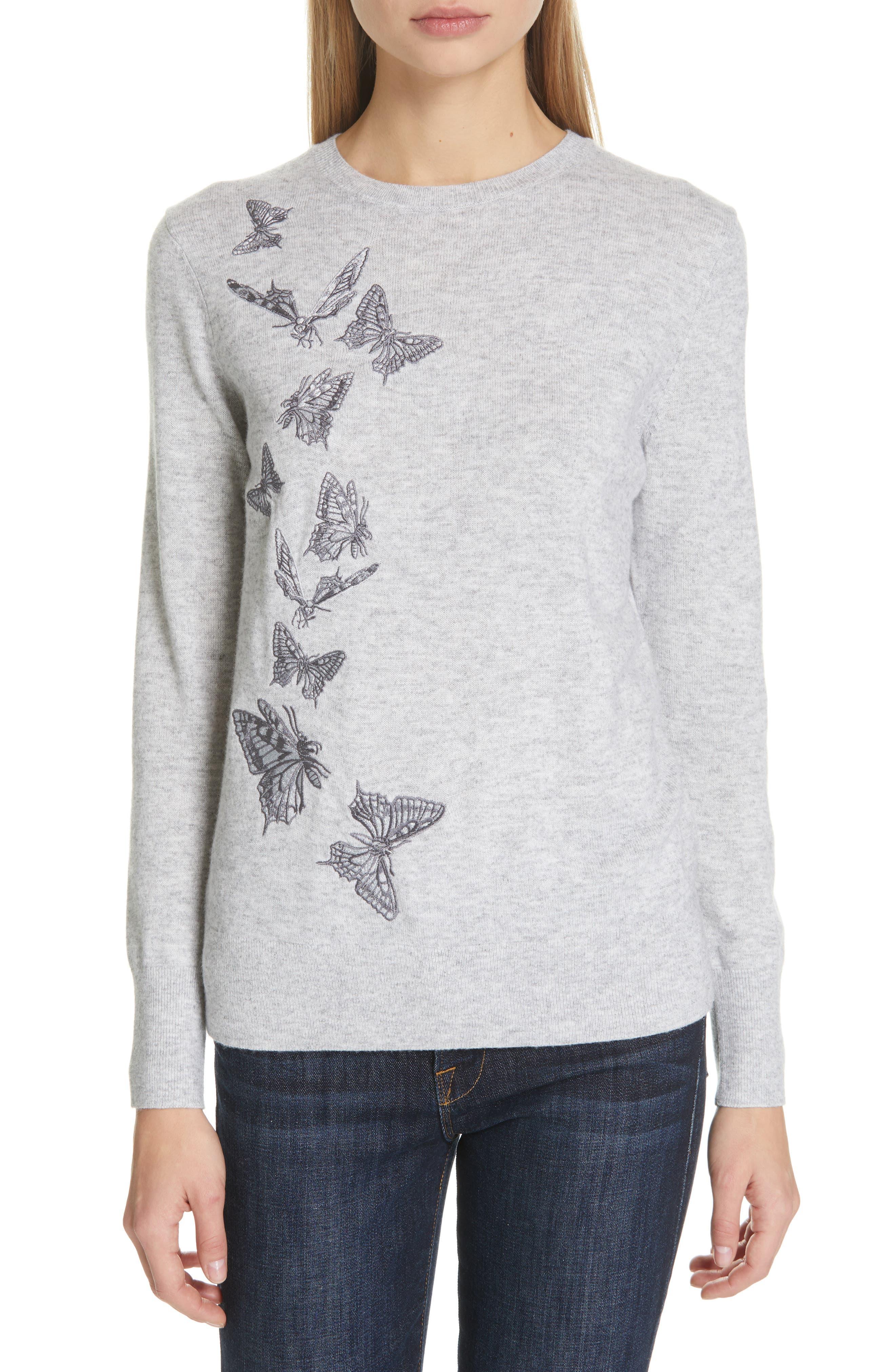 TED BAKER LONDON,                             Redinn Butterfly Sweater,                             Main thumbnail 1, color,                             GREY