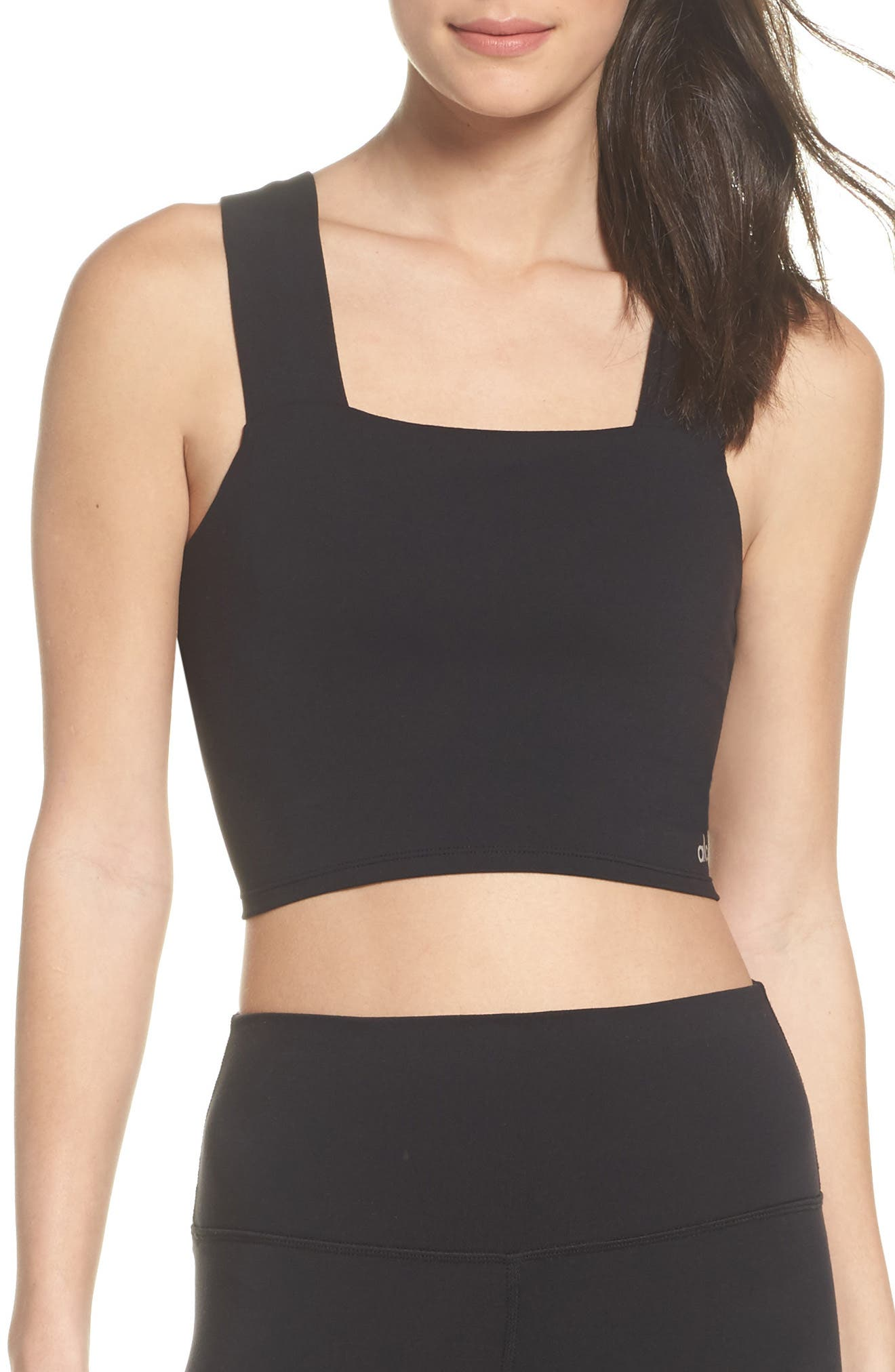 Binded Wide Strap Crop Tank,                         Main,                         color, BLACK
