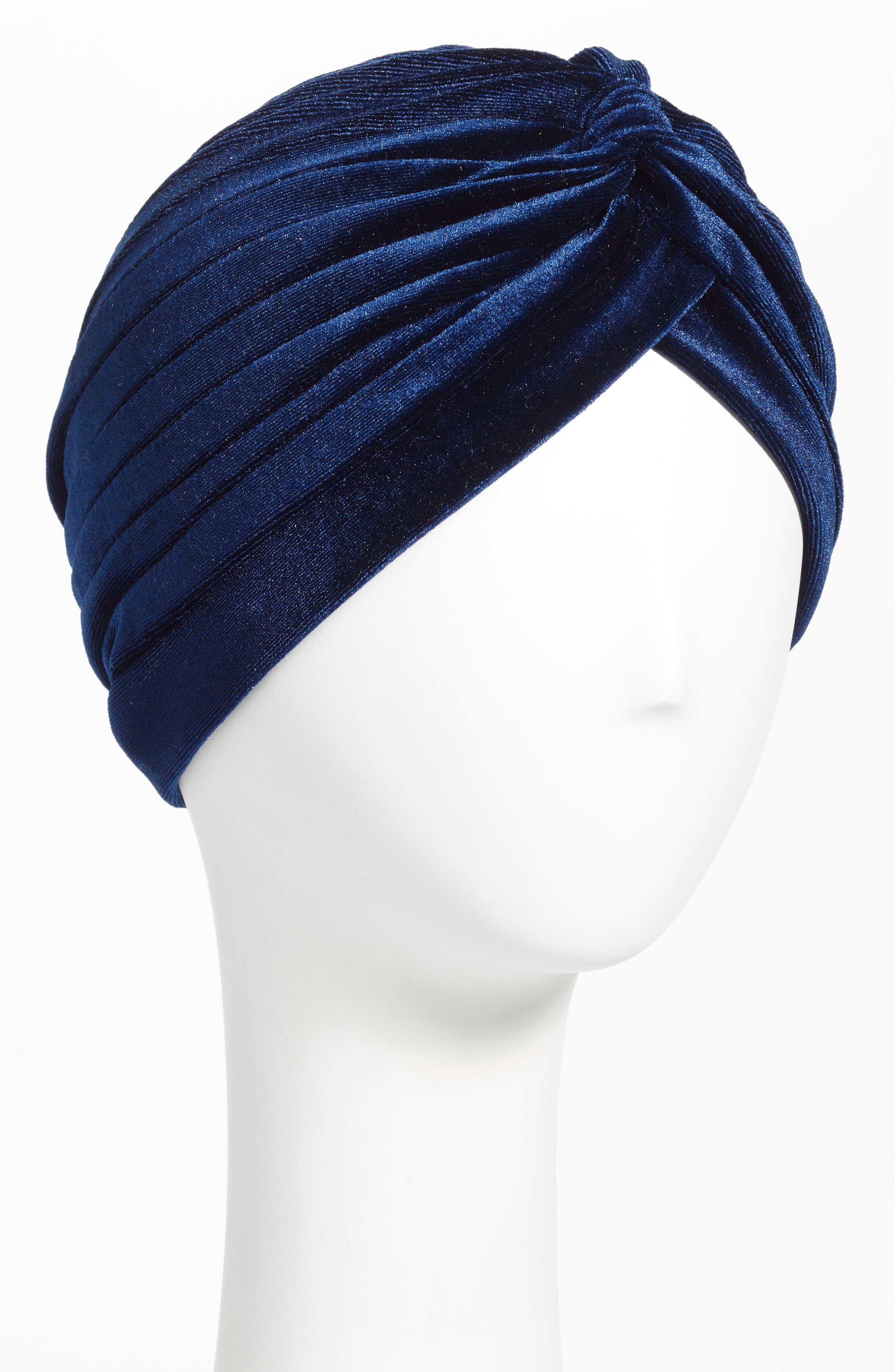 Velvet Turban,                         Main,                         color, NAVY