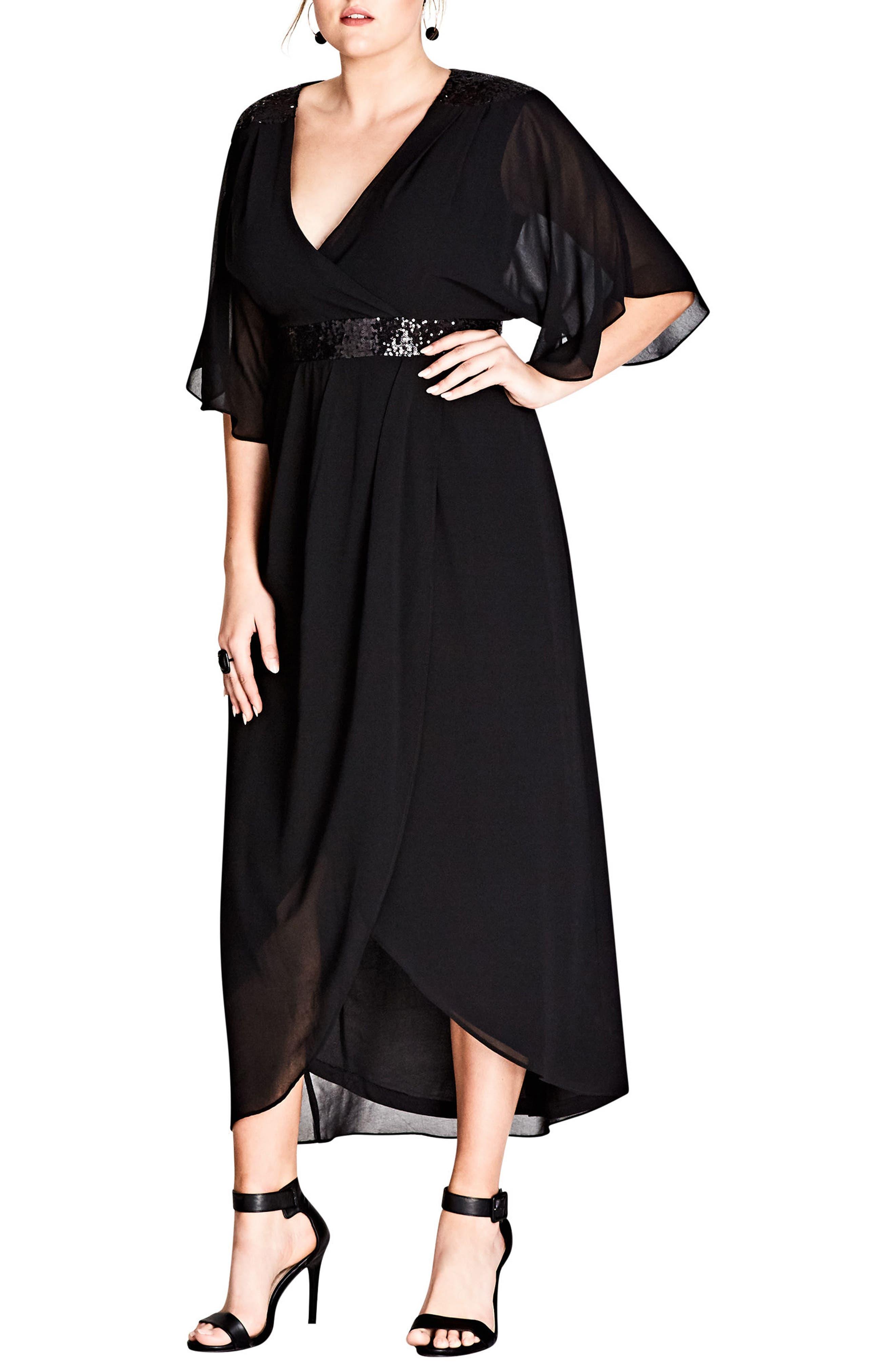 Sequin Wrap Maxi Dress,                         Main,                         color, BLACK
