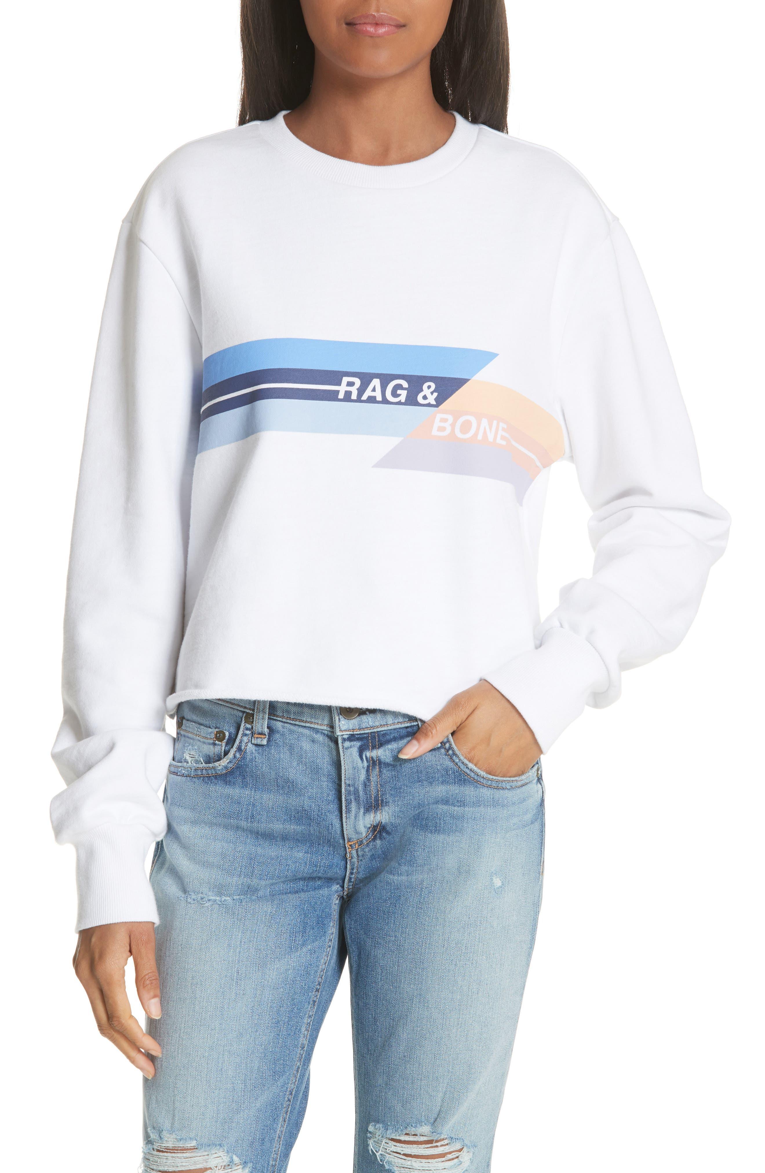 JEAN Glitch Crop Sweatshirt,                             Main thumbnail 1, color,                             100