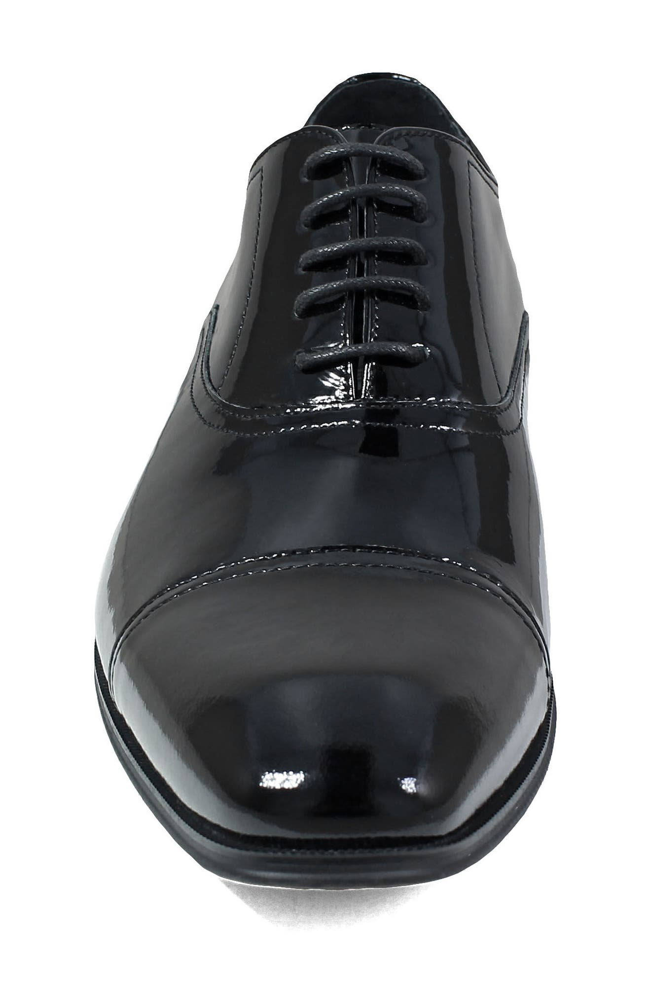 Tux Cap Toe Oxford,                             Alternate thumbnail 4, color,                             BLACK PATENT LEATHER