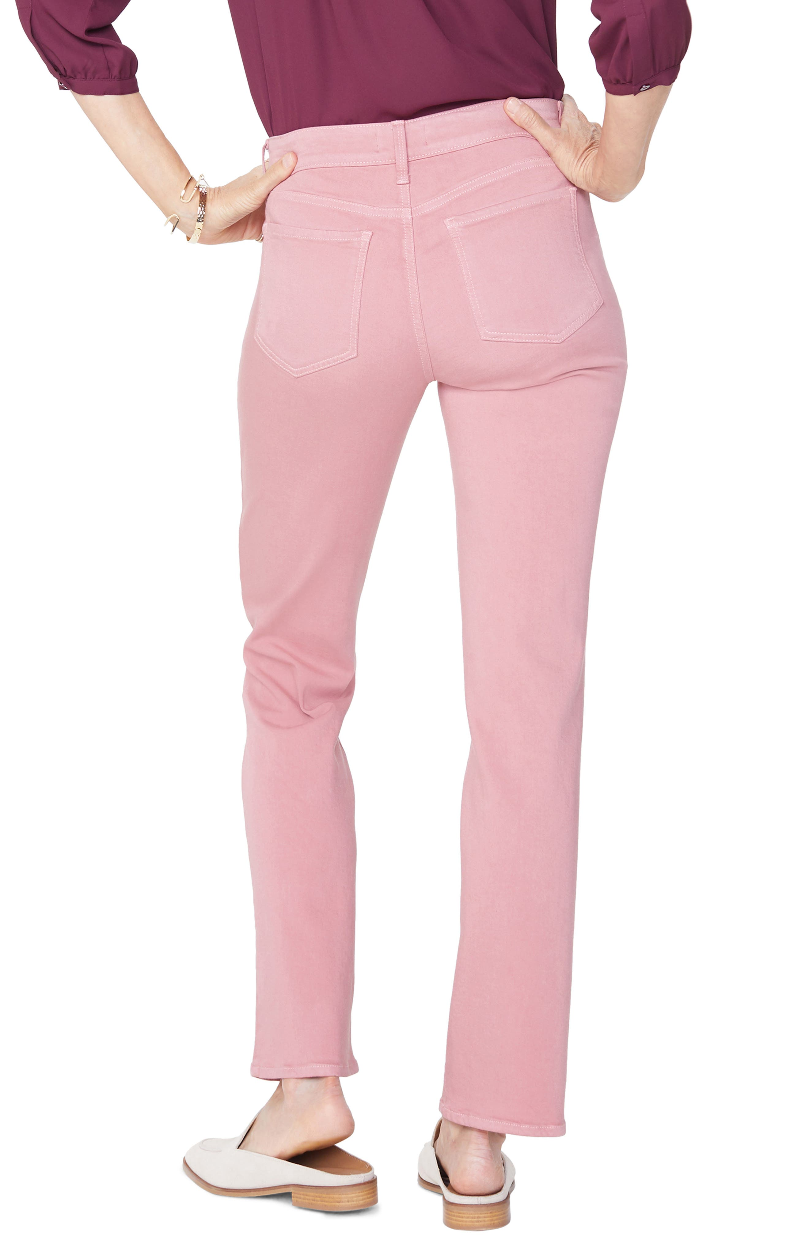 Marilyn Stretch Twill Straight Leg Pants,                             Alternate thumbnail 2, color,                             WOOD ROSE
