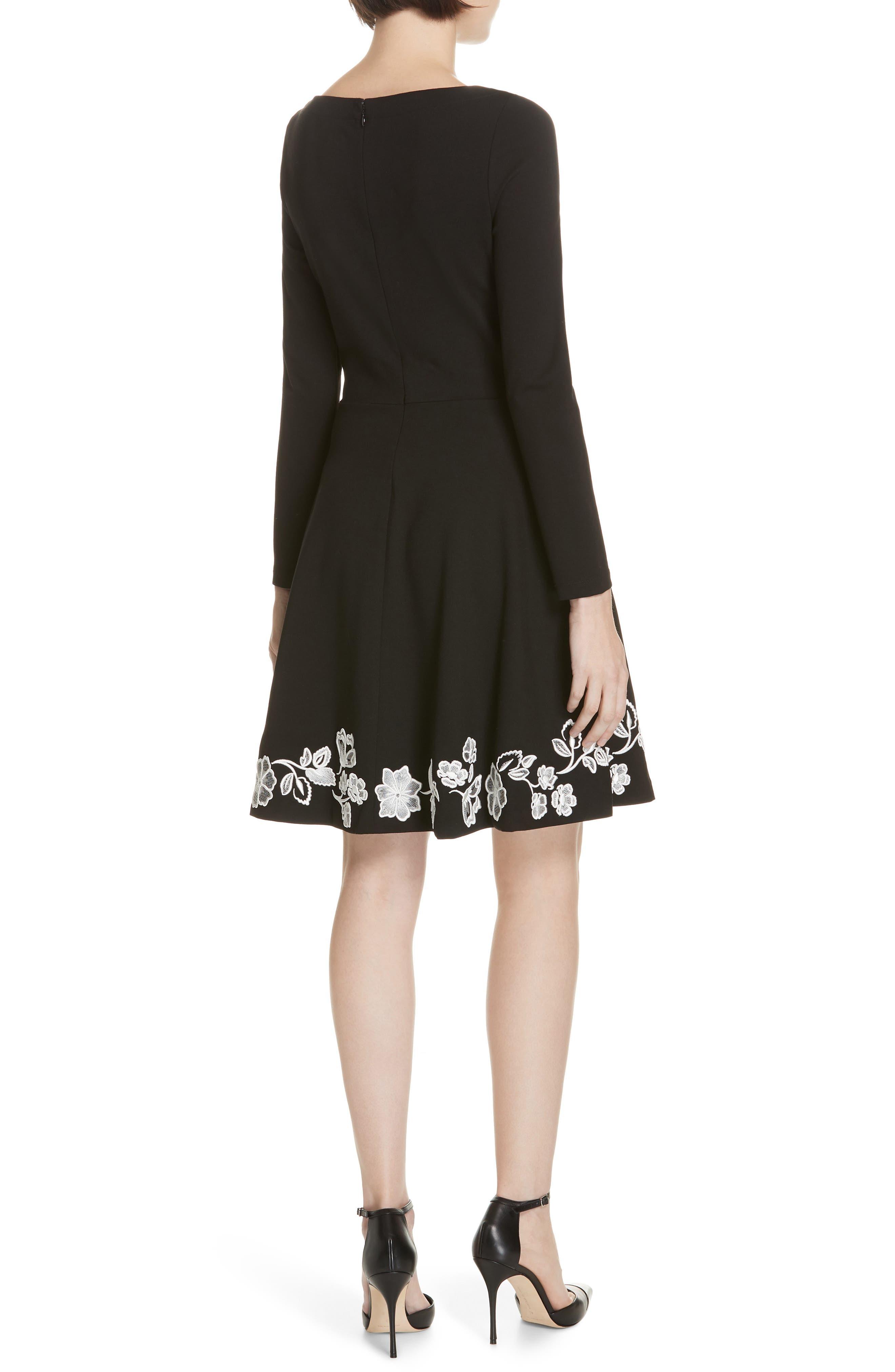 embroidered ponte fit & flare dress,                             Alternate thumbnail 2, color,                             BLACK