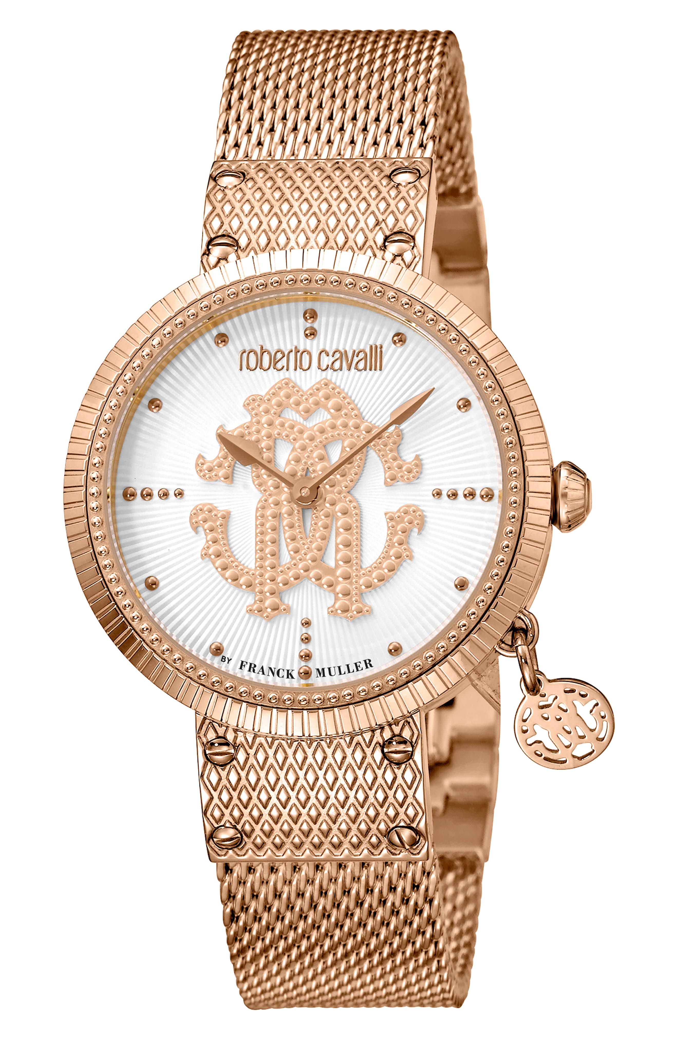 ROBERTO CAVALLI BY FRANCK MULLER Dotted Bracelet Watch, 34Mm in Rose Gold/ Silver/ Rose Gold