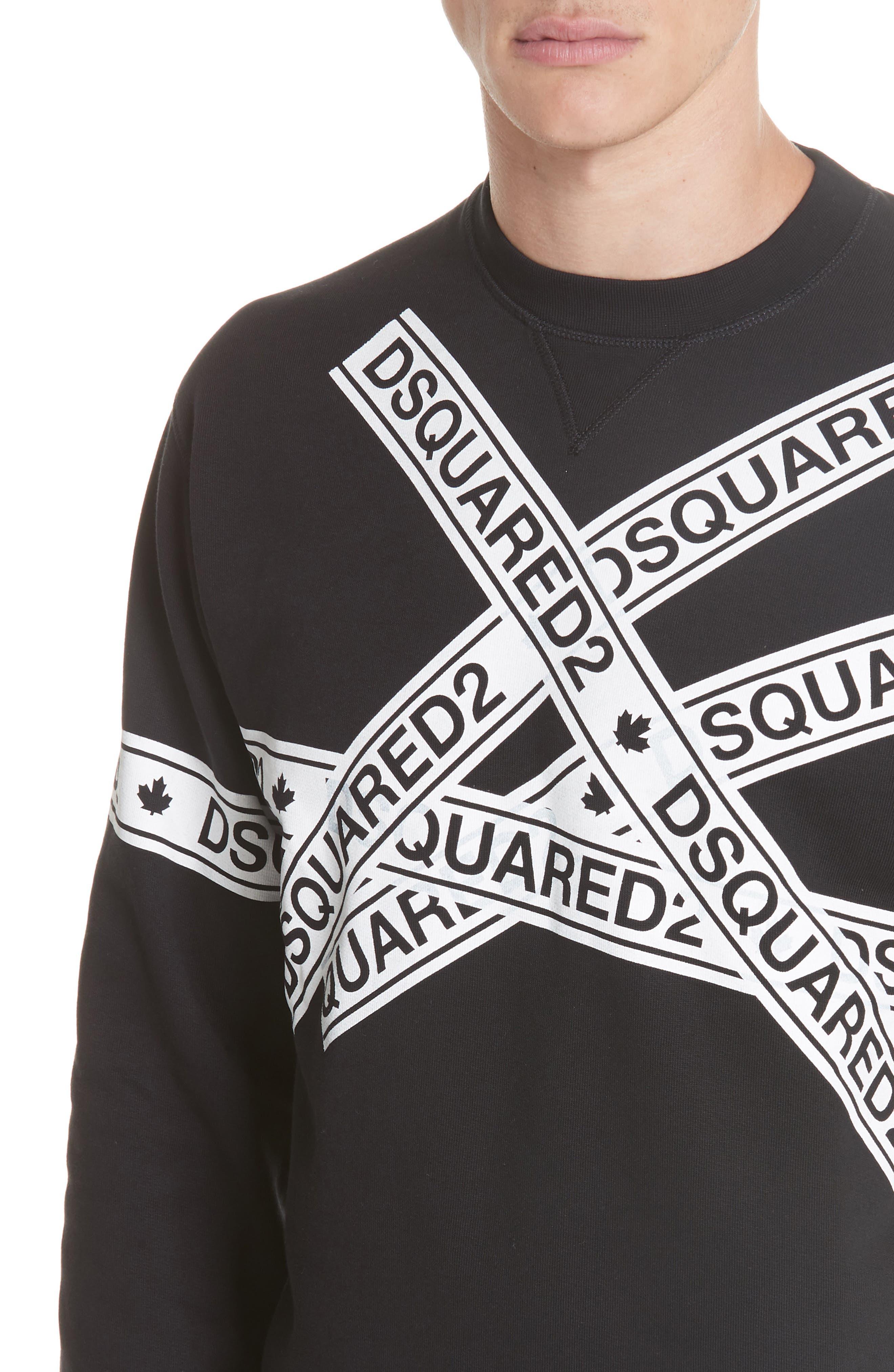 Caution Logo Print Sweatshirt,                             Alternate thumbnail 4, color,                             001