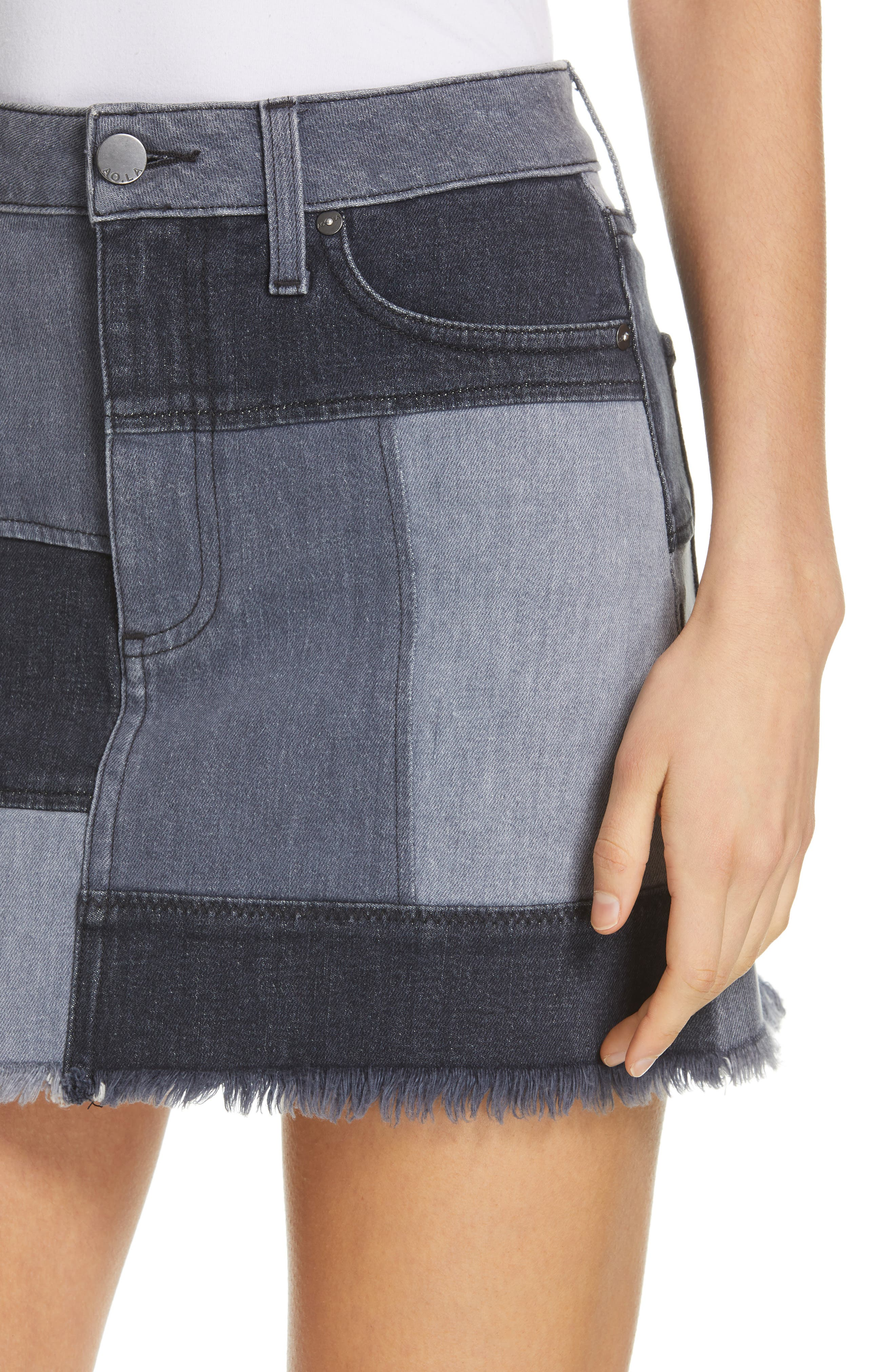 ALICE + OLIVIA JEANS,                             Amazing Patchwork Denim Miniskirt,                             Alternate thumbnail 4, color,                             NIGHT SKY
