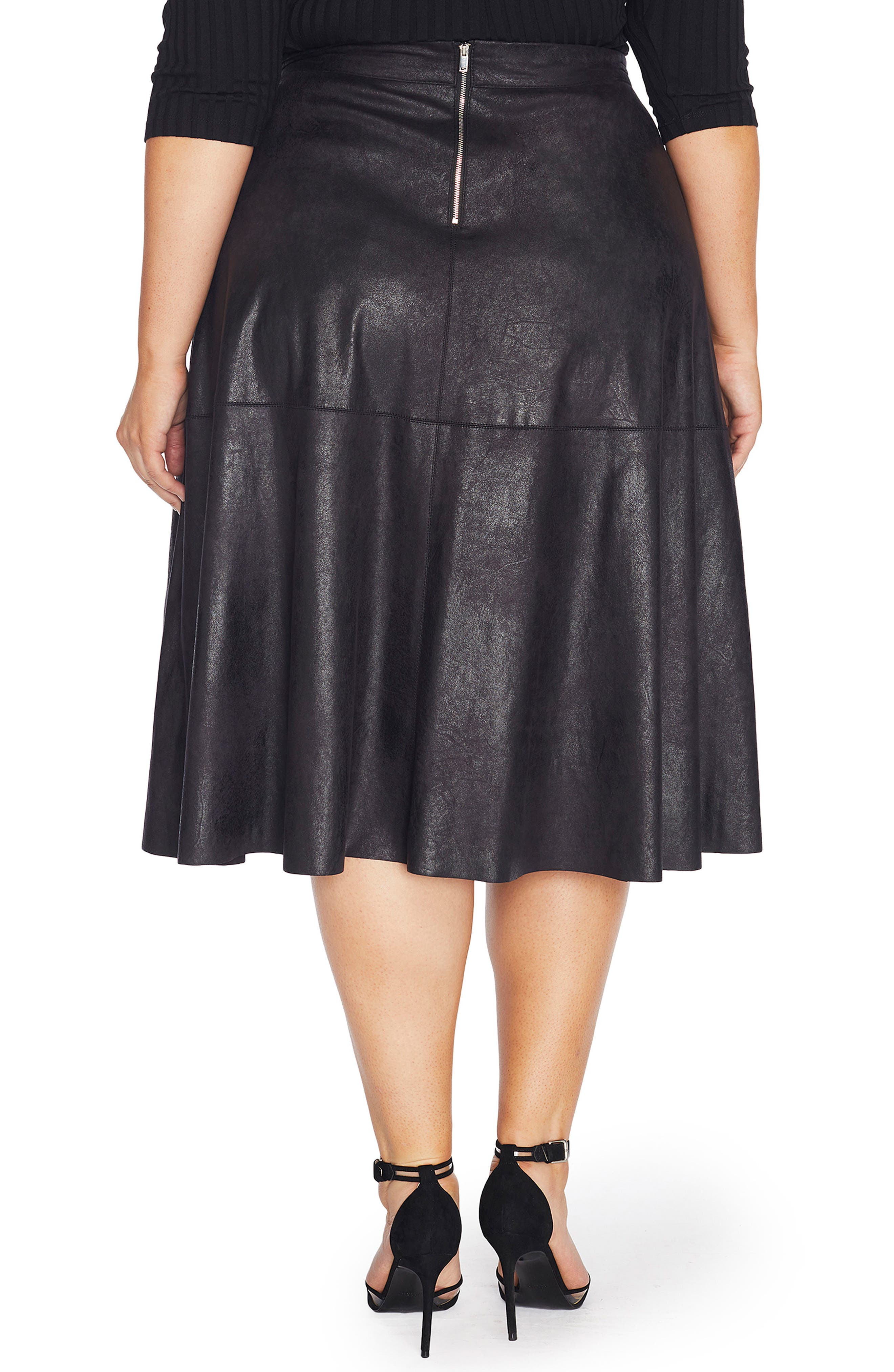 Stretch Faux Leather A-Line Skirt,                             Alternate thumbnail 2, color,                             002