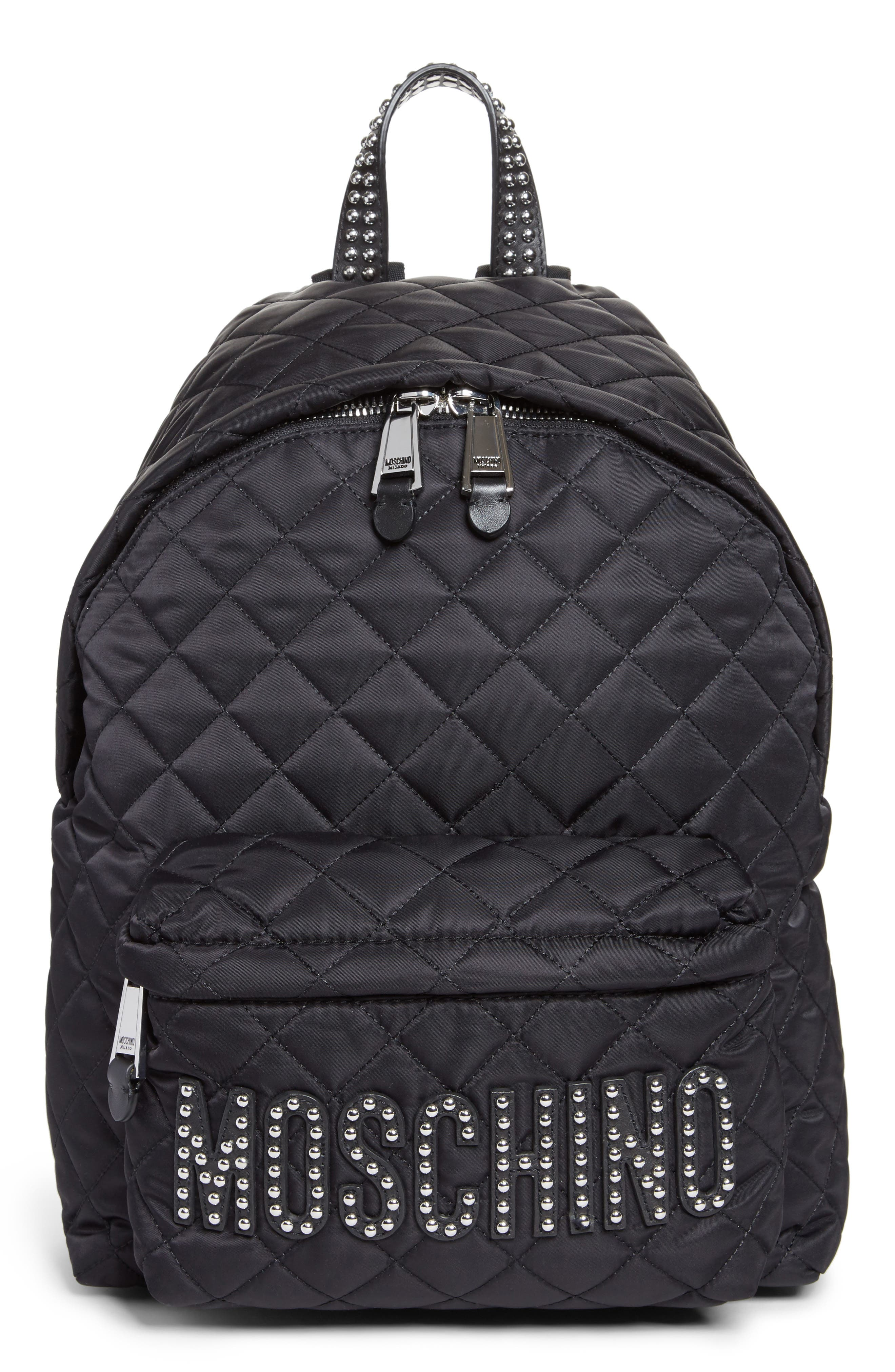 Studded Logo Quilted Nylon Backpack,                             Main thumbnail 1, color,                             115