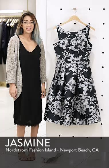 Metallic Floral Belted Fit & Flare Dress, sales video thumbnail