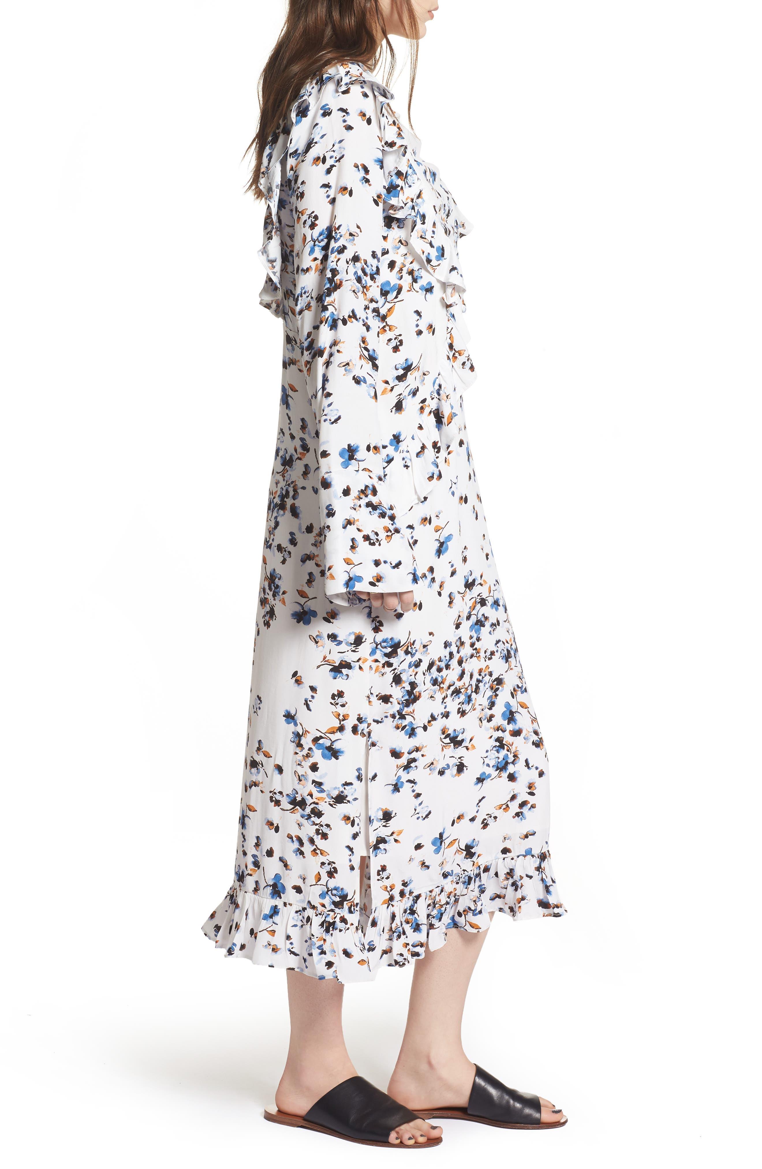 Print Ruffle Maxi Dress,                             Alternate thumbnail 3, color,                             100