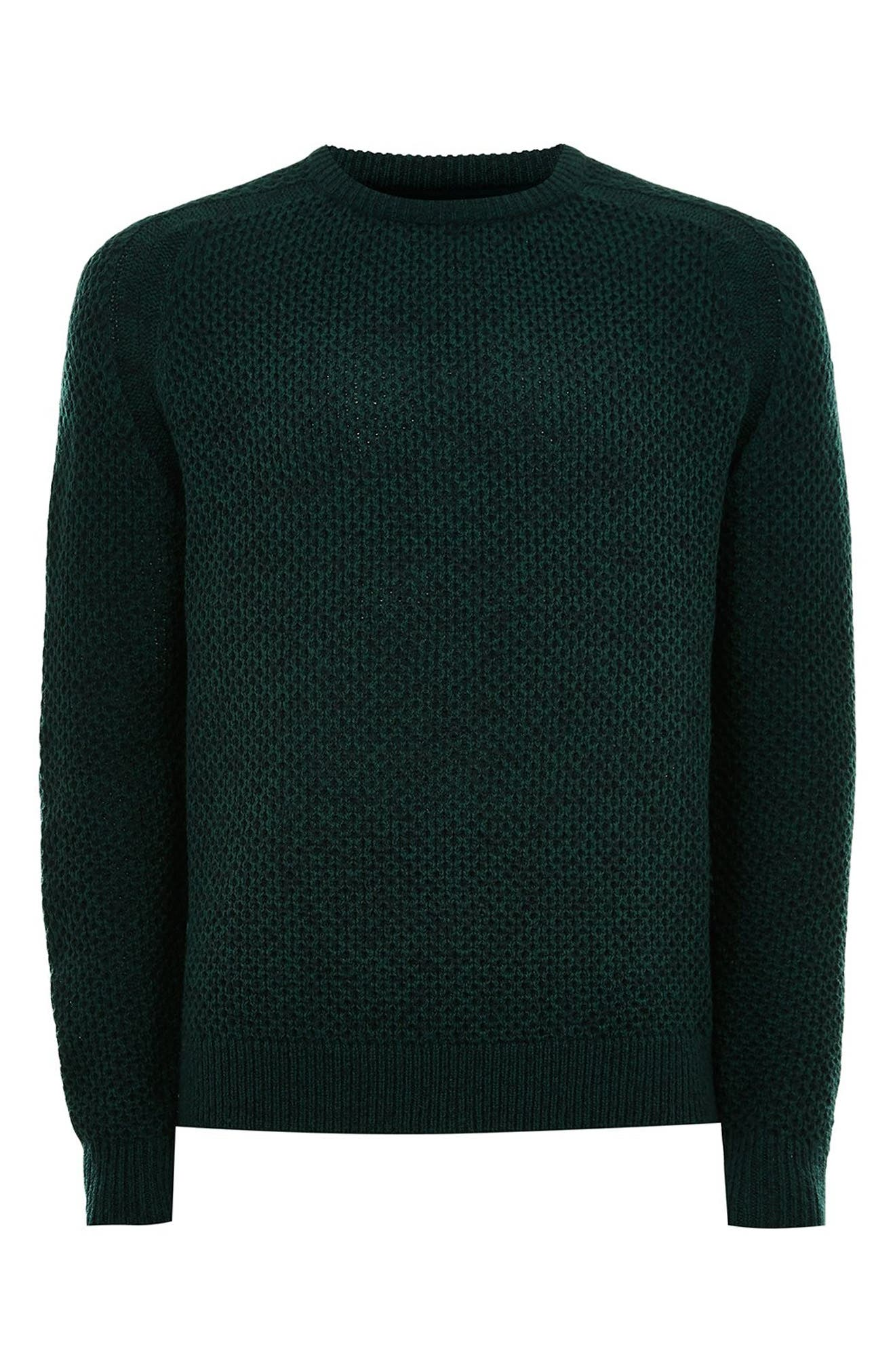 Honeycomb Classic Fit Crewneck Sweater,                             Alternate thumbnail 3, color,                             GREEN MULTI