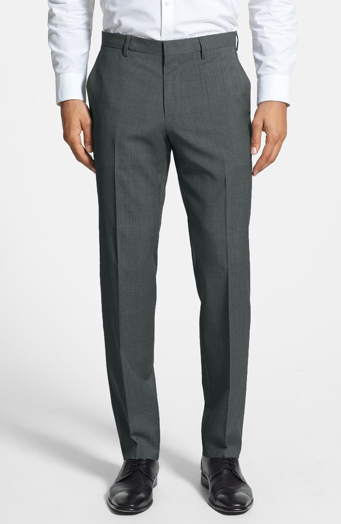 Genesis Flat Front Trim Fit Wool Trousers,                         Main,                         color, CHARCOAL