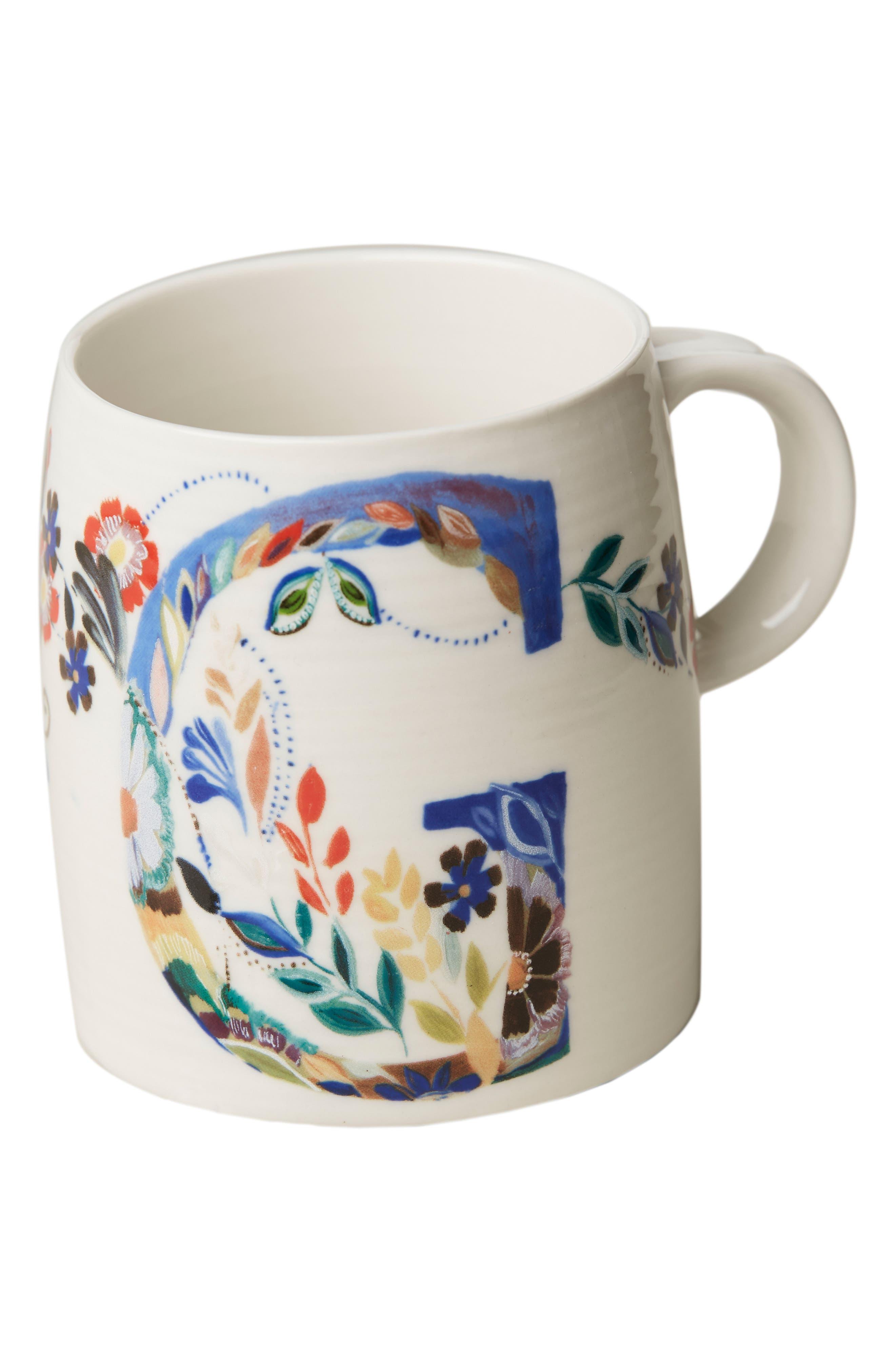 ANTHROPOLOGIE,                             Petal Palette Monogram Mug,                             Alternate thumbnail 3, color,                             PINK - G