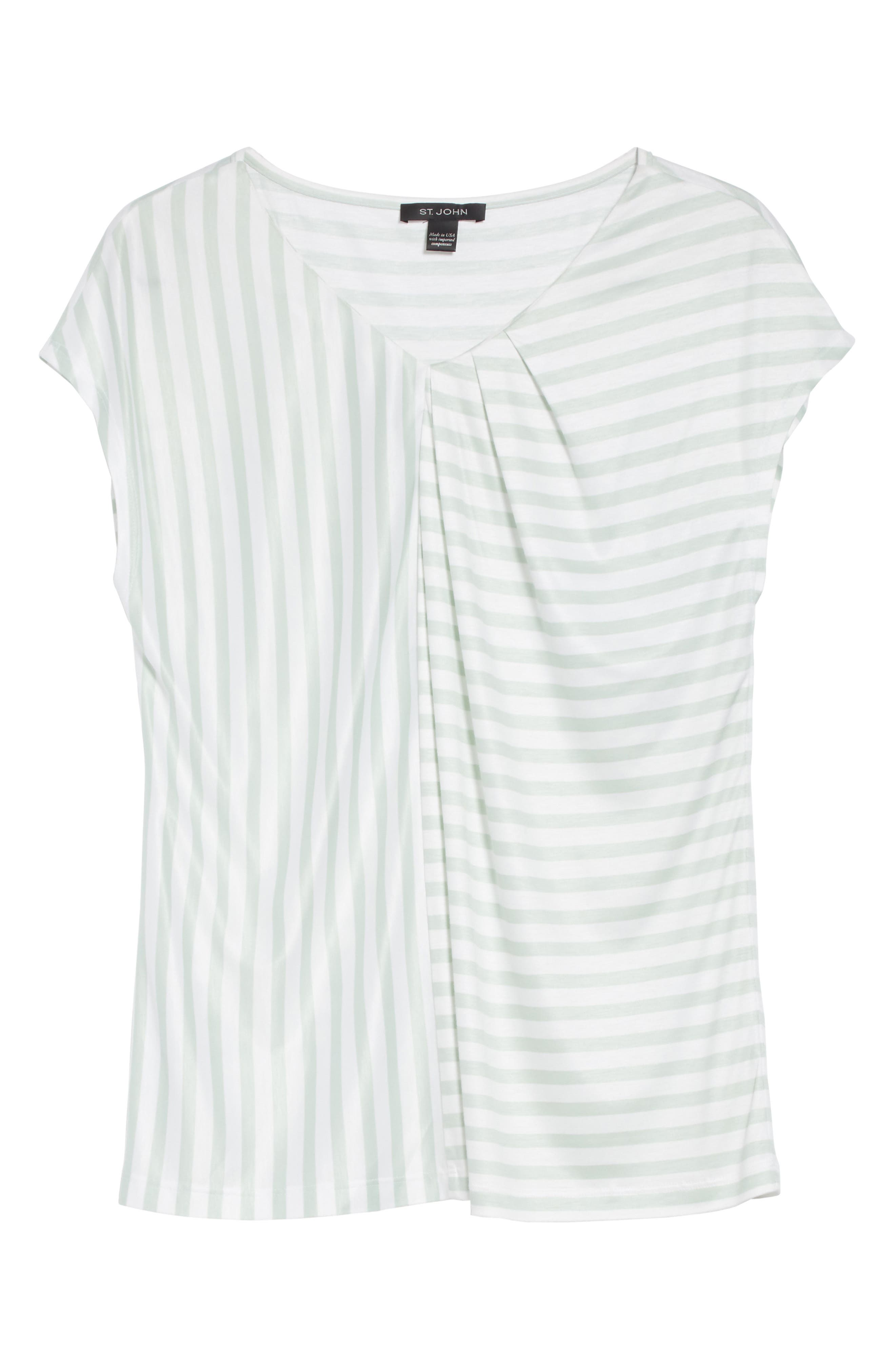 Stripe Jersey Gathered Tee,                             Alternate thumbnail 6, color,