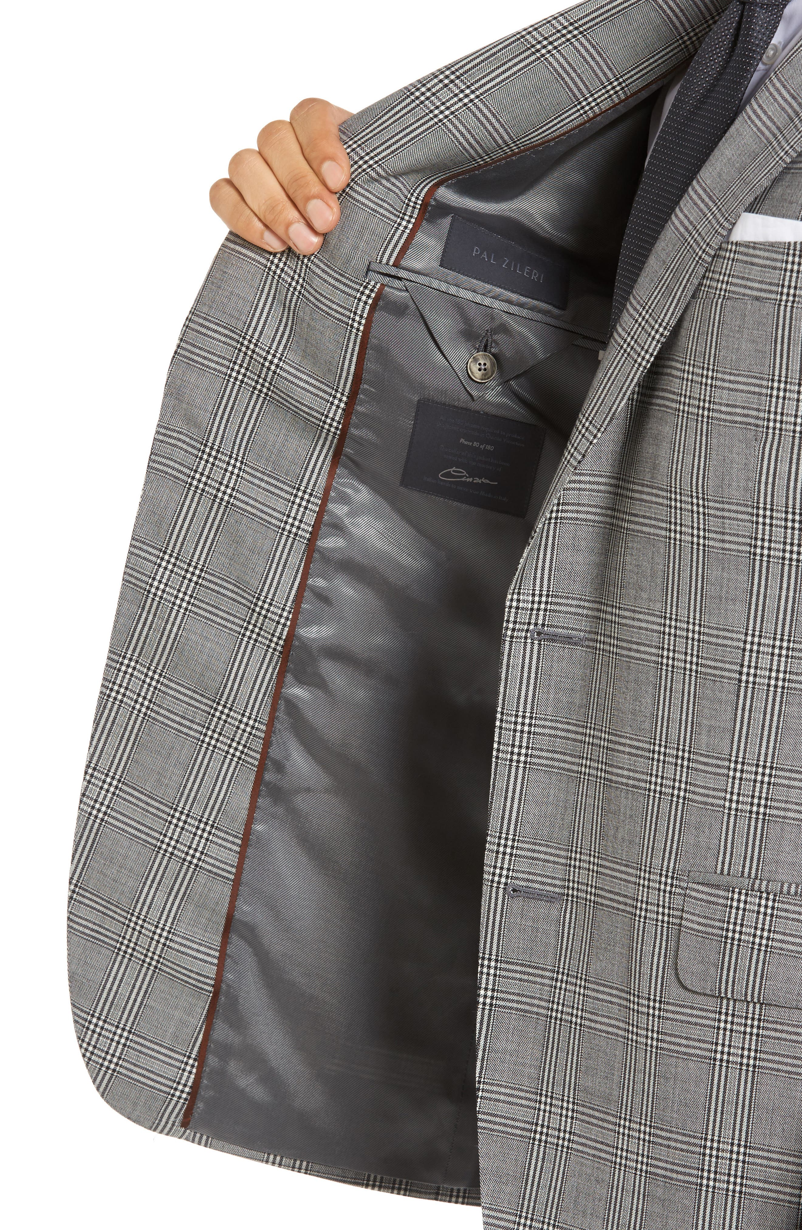 Classic Fit Plaid Wool Sport Coat,                             Alternate thumbnail 4, color,                             001