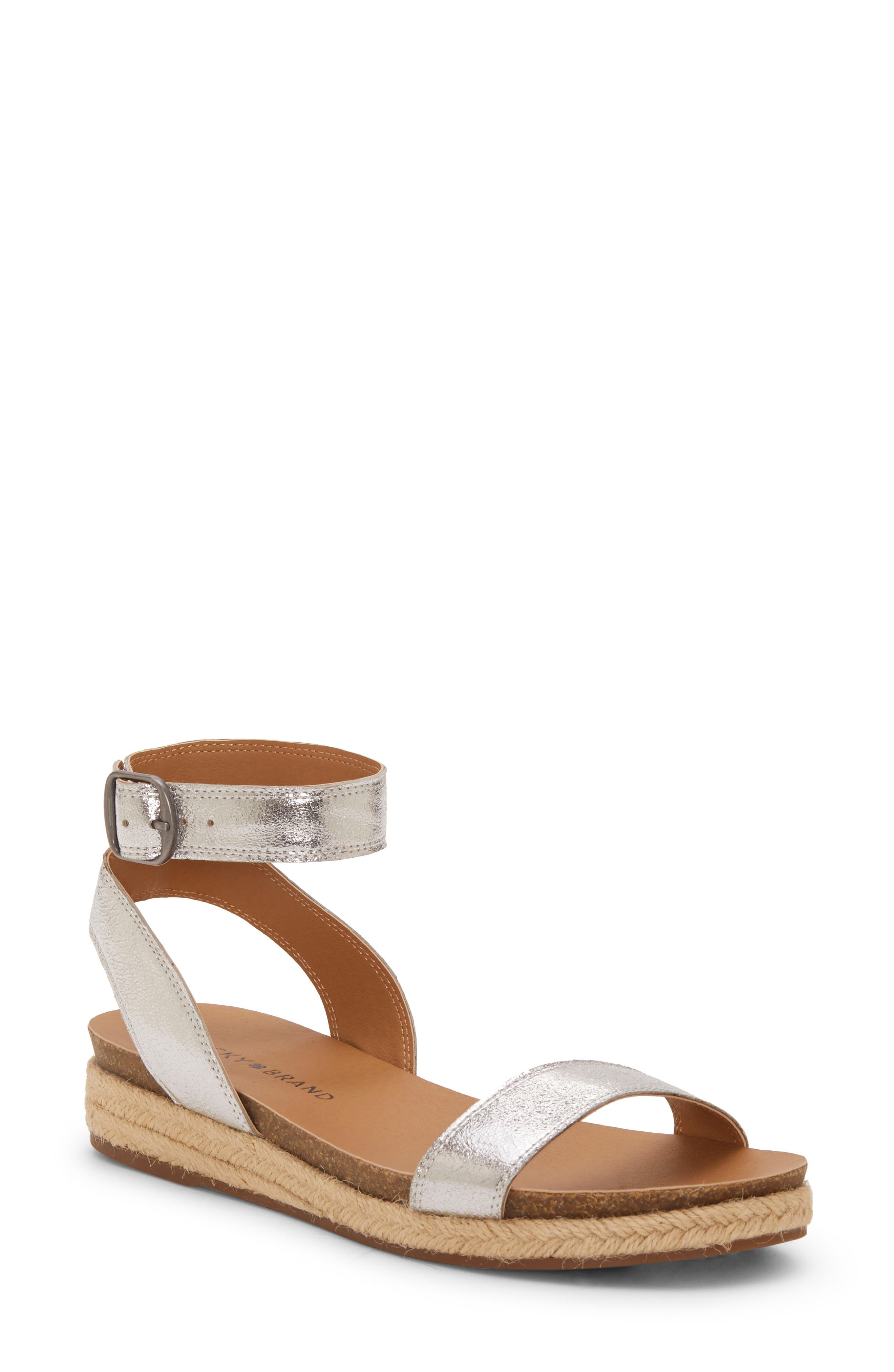 LUCKY BRAND,                             Garston Espadrille Sandal,                             Main thumbnail 1, color,                             SILVER LEATHER