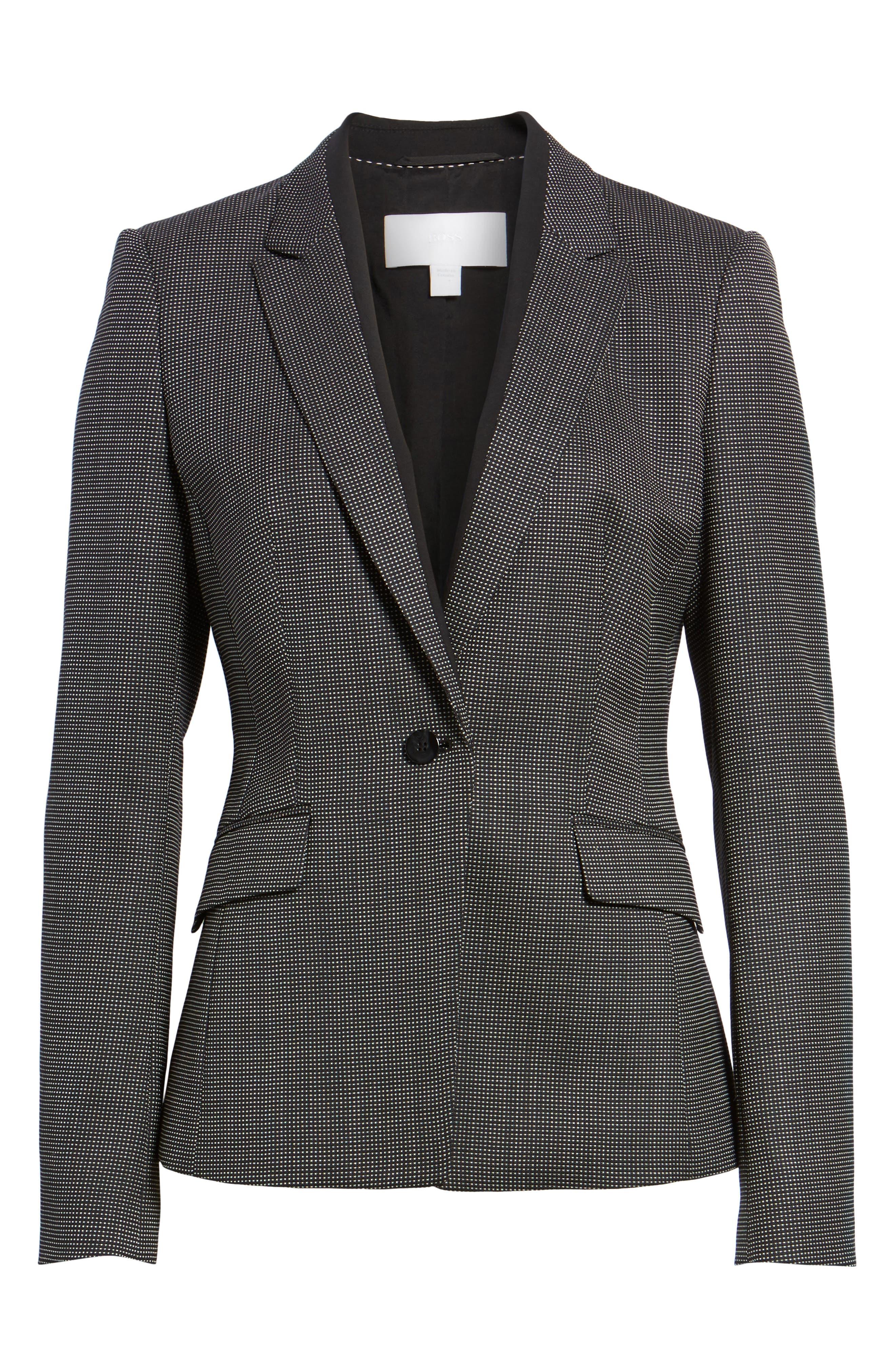 Jeresa Check Stretch Wool Suit Jacket,                             Alternate thumbnail 5, color,