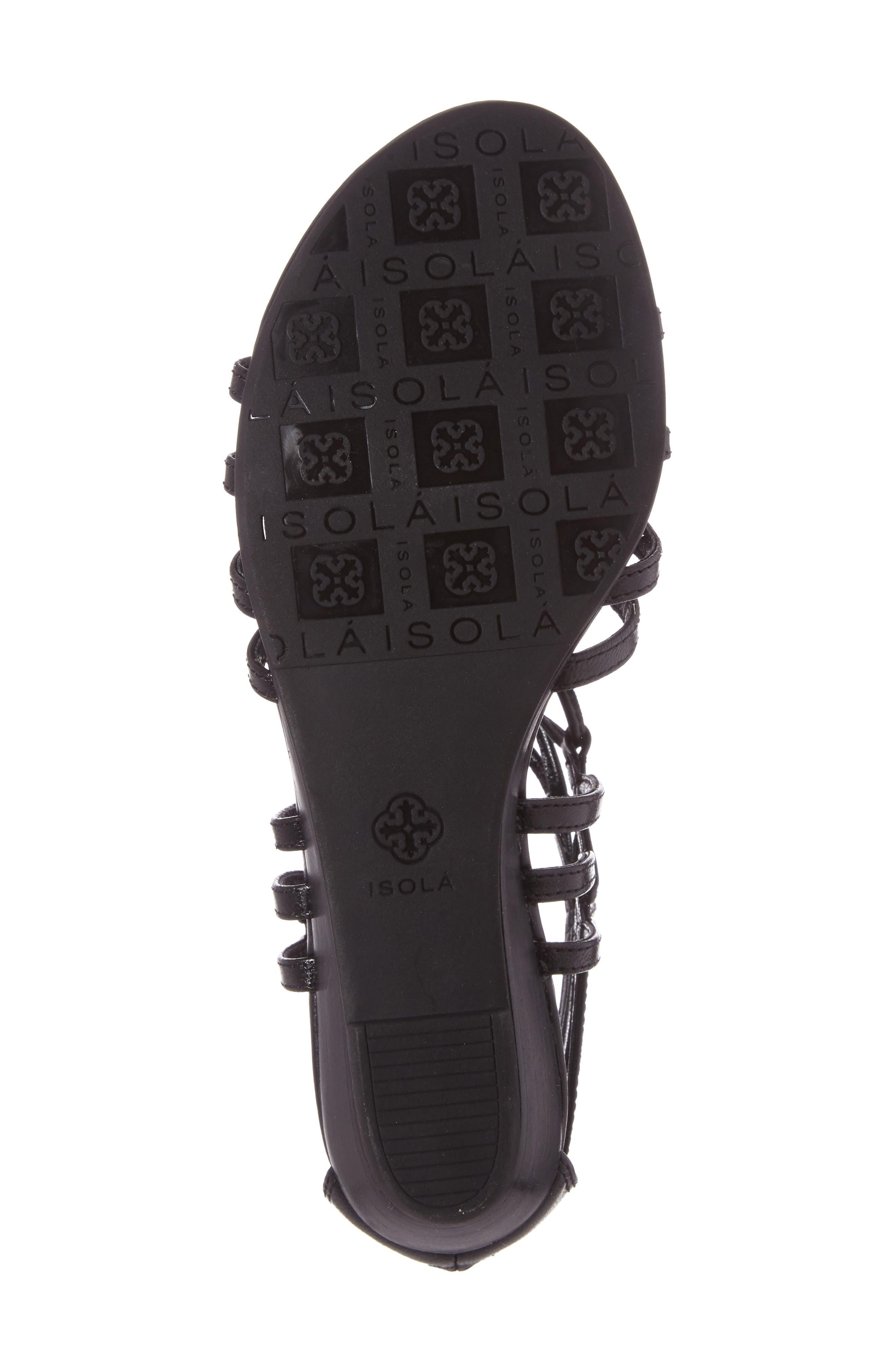 Elisia Lace-Up Sandal,                             Alternate thumbnail 4, color,                             BLACK LEATHER