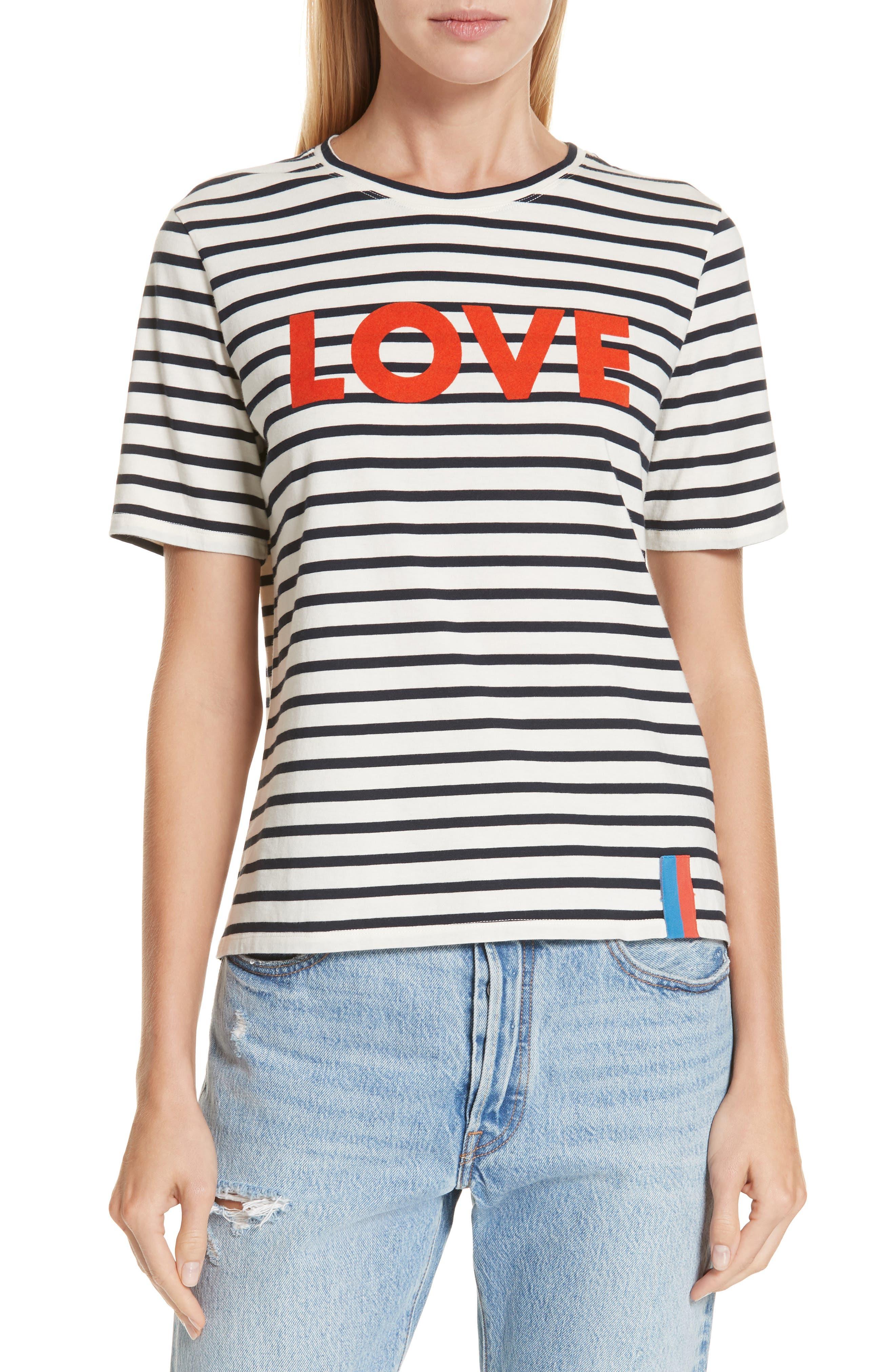 The Modern Love Stripe Tee, Main, color, CREAM/ NAVY