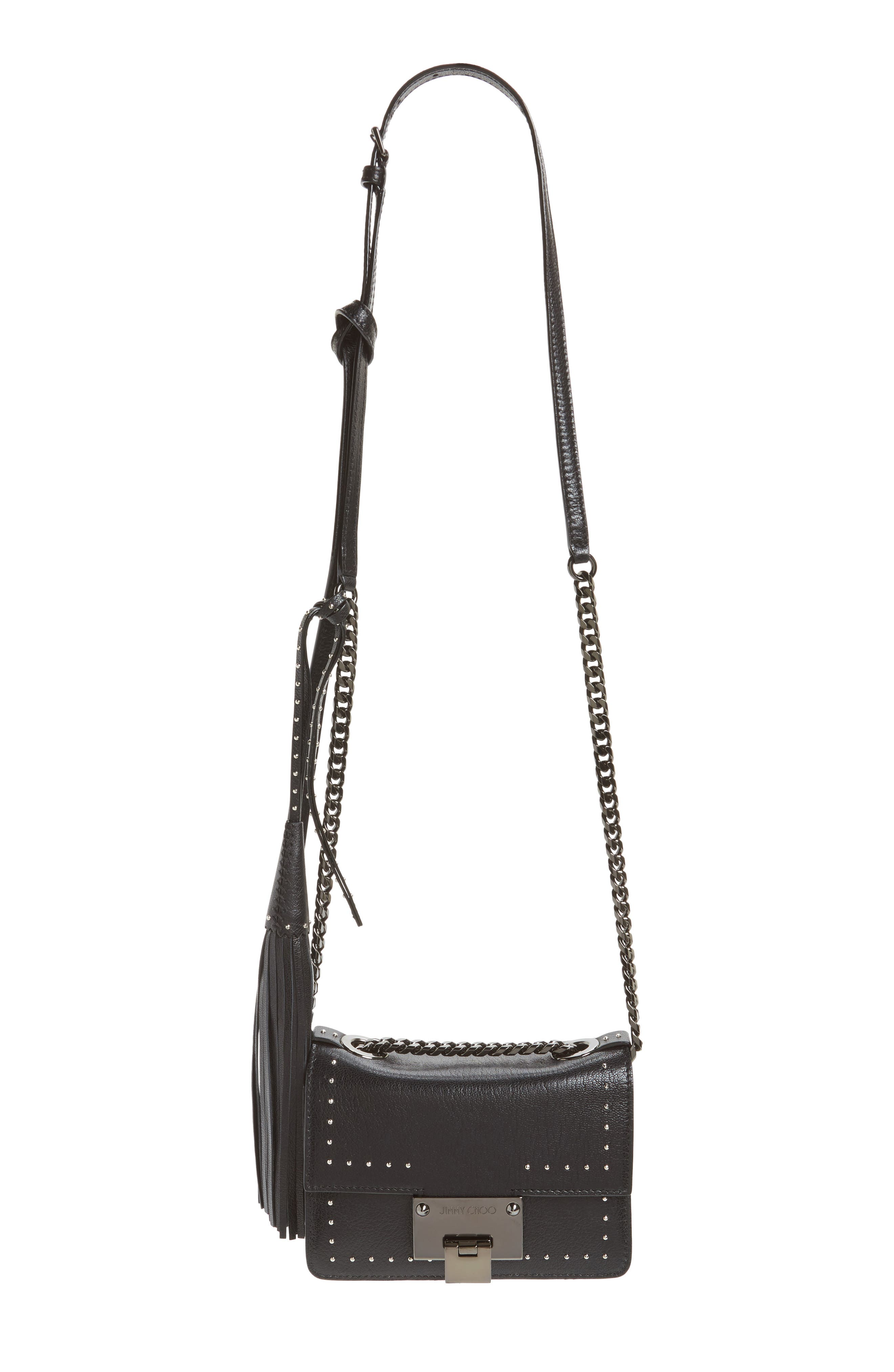 Mini Rebel Studded Leather Shoulder Bag,                         Main,                         color, 001