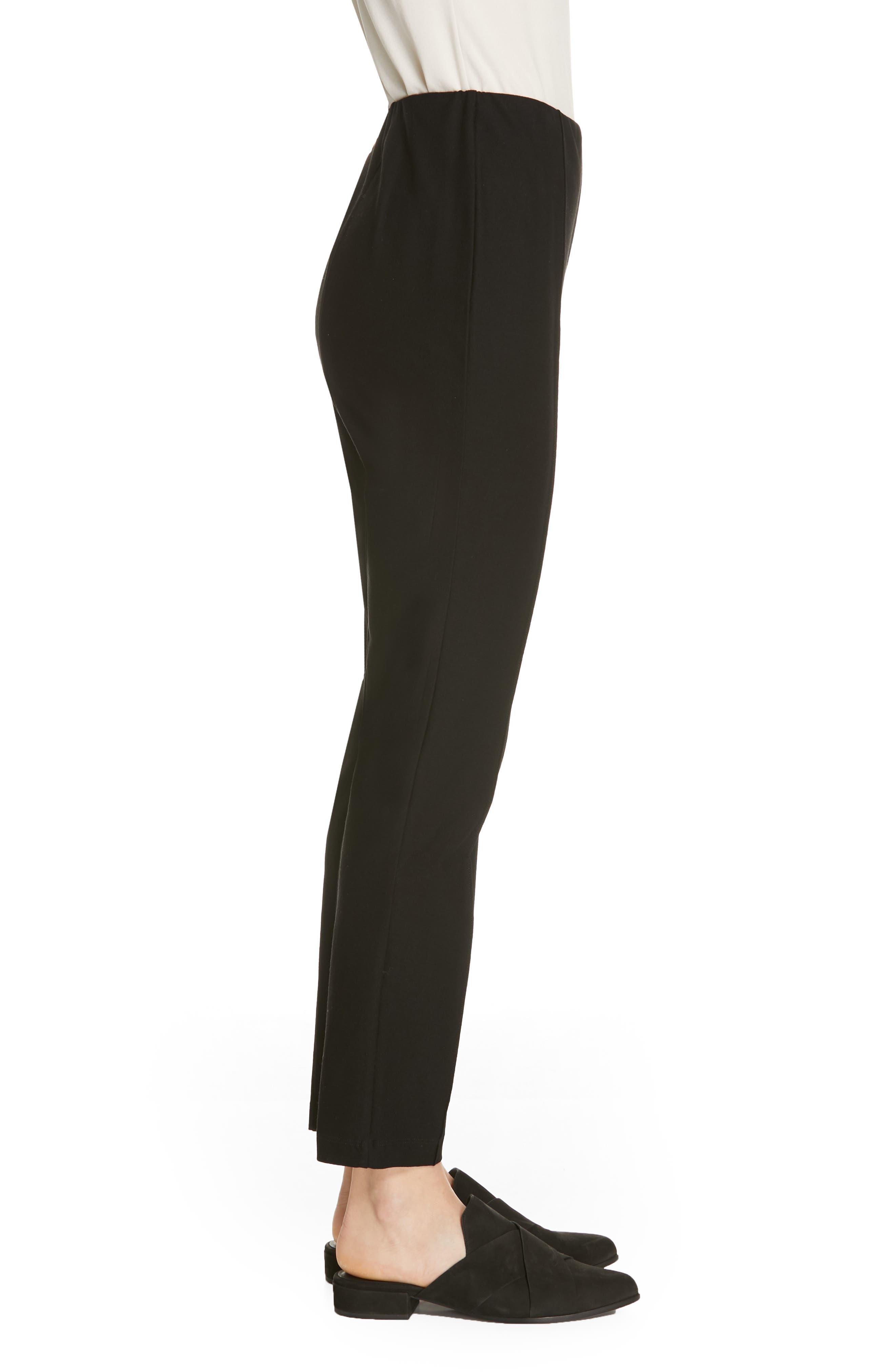 High Waist Slim Ankle Pants,                             Alternate thumbnail 3, color,                             BLACK