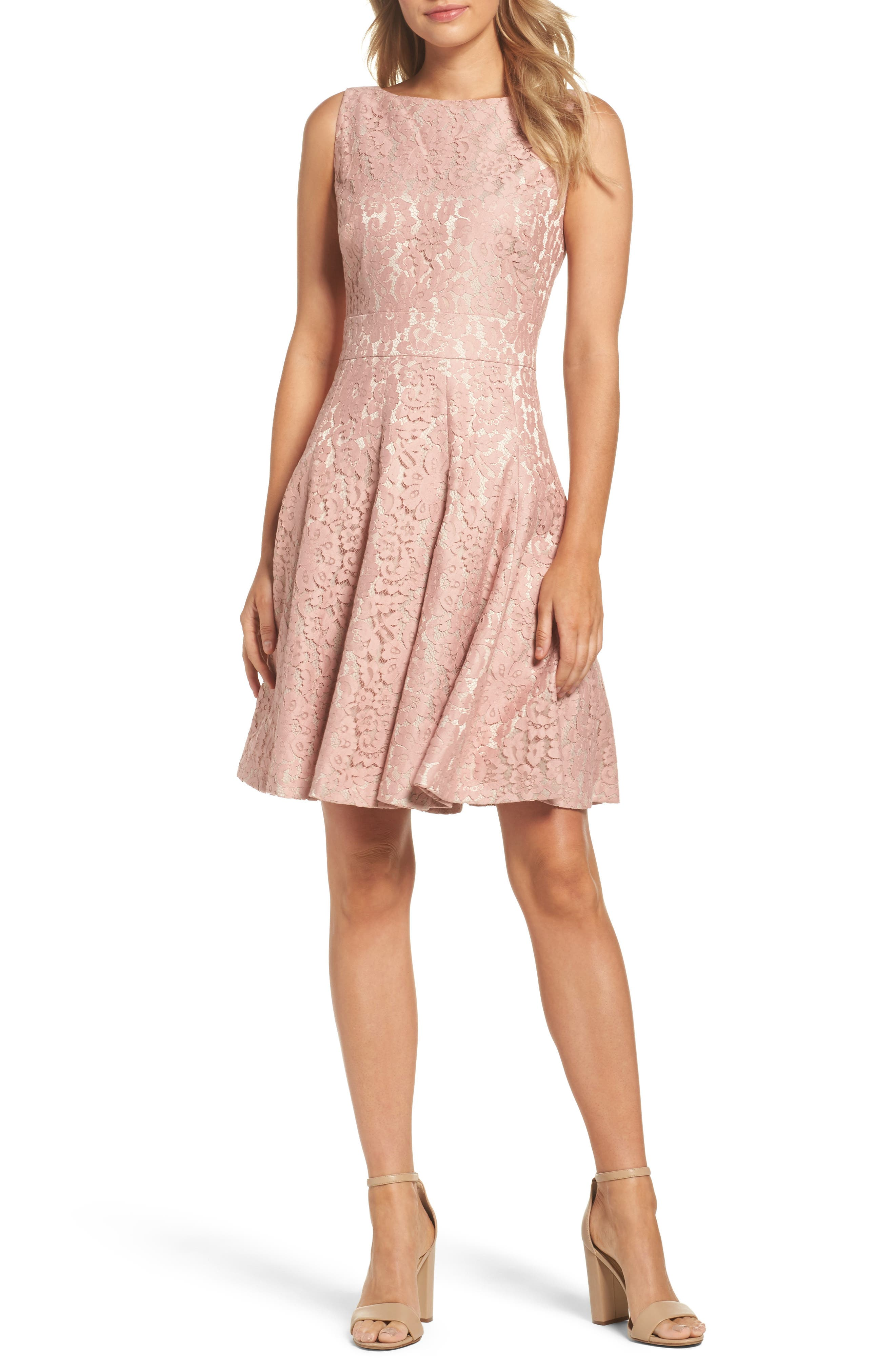Lace Fit & Flare Dress,                             Main thumbnail 1, color,                             660