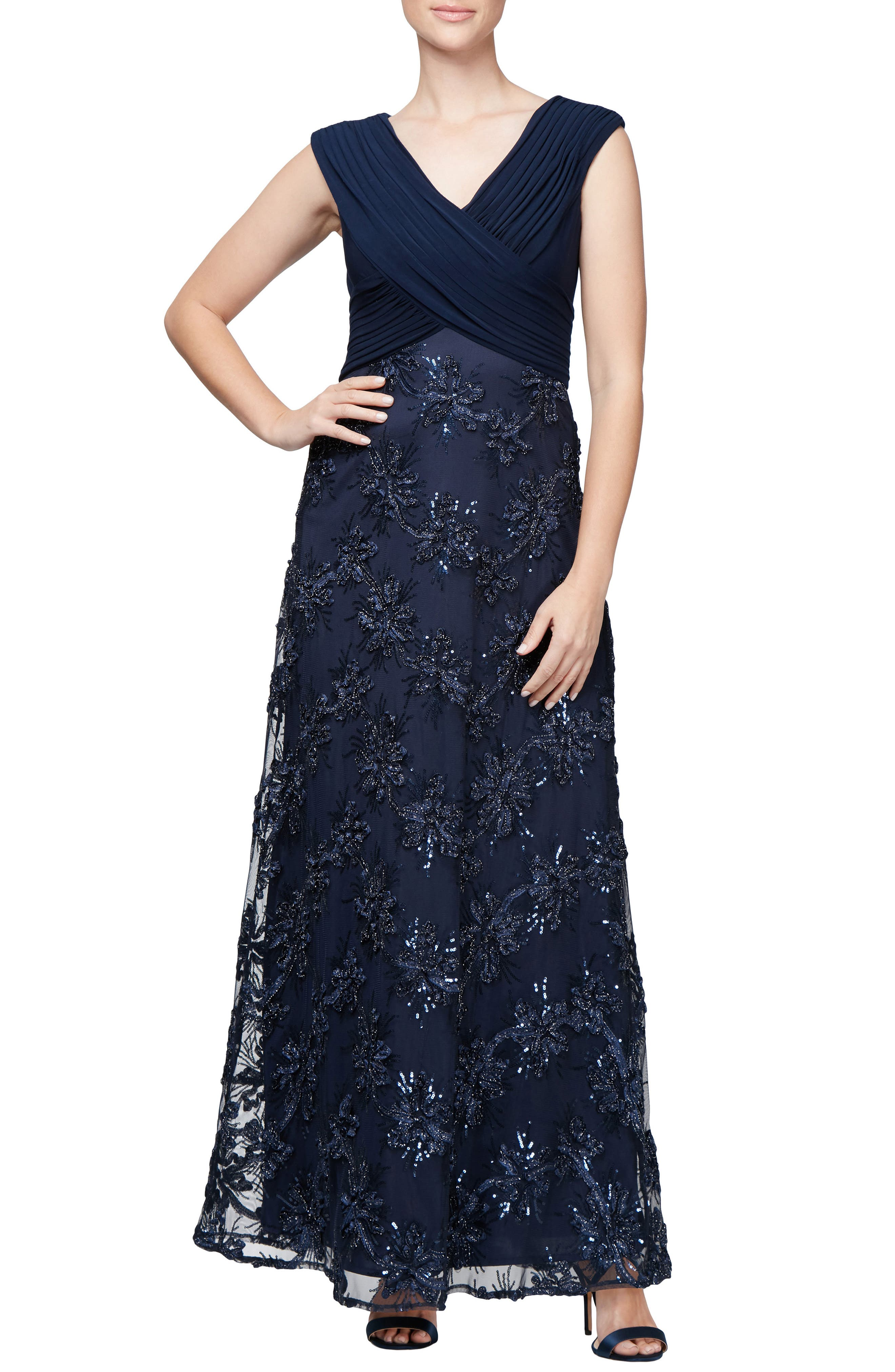 Embellished A-Line Gown,                         Main,                         color, NAVY