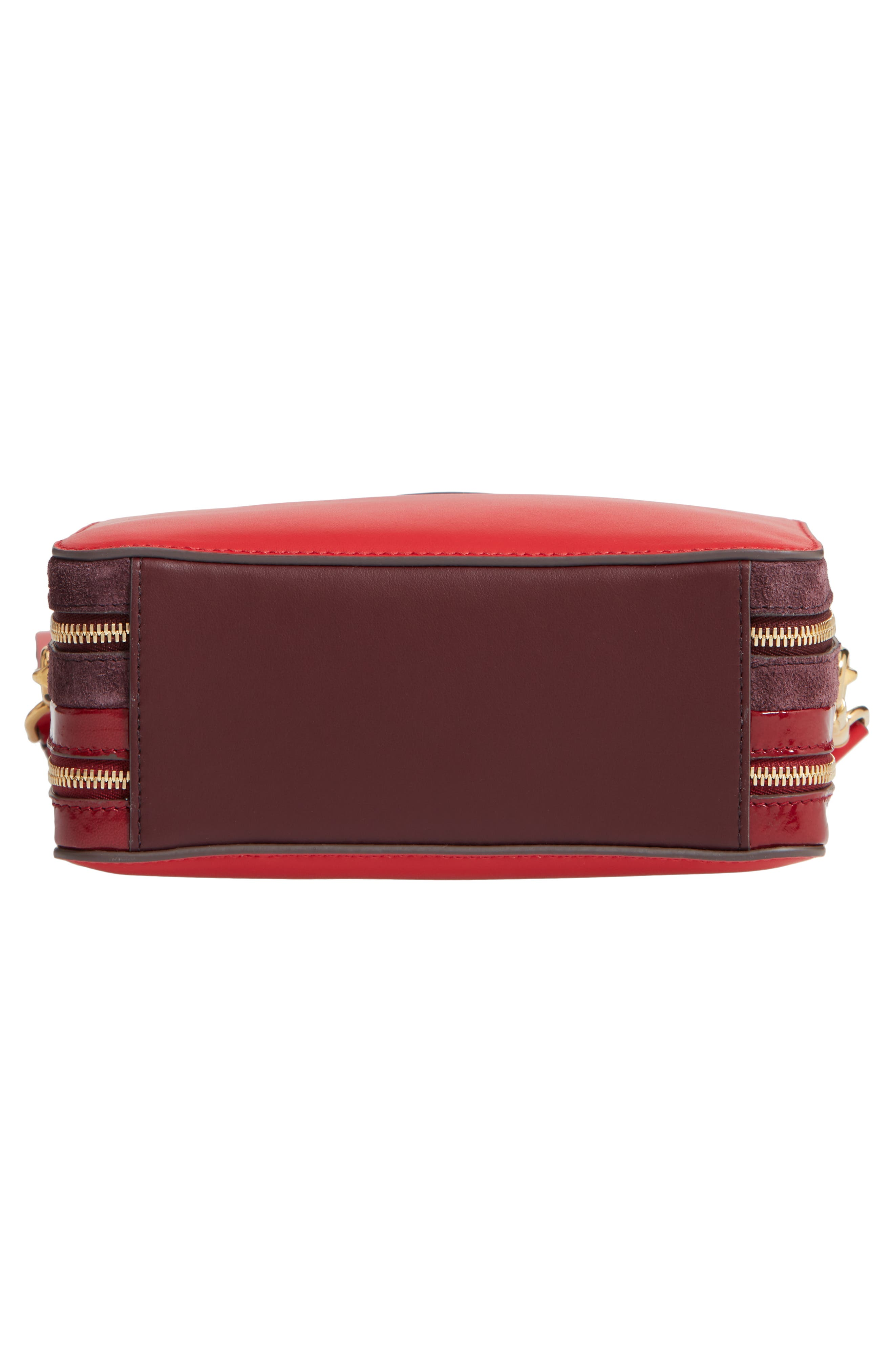 The Double Stack Leather Crossbody Bag,                             Alternate thumbnail 6, color,                             BRIGHT RED/ OXBLOOD