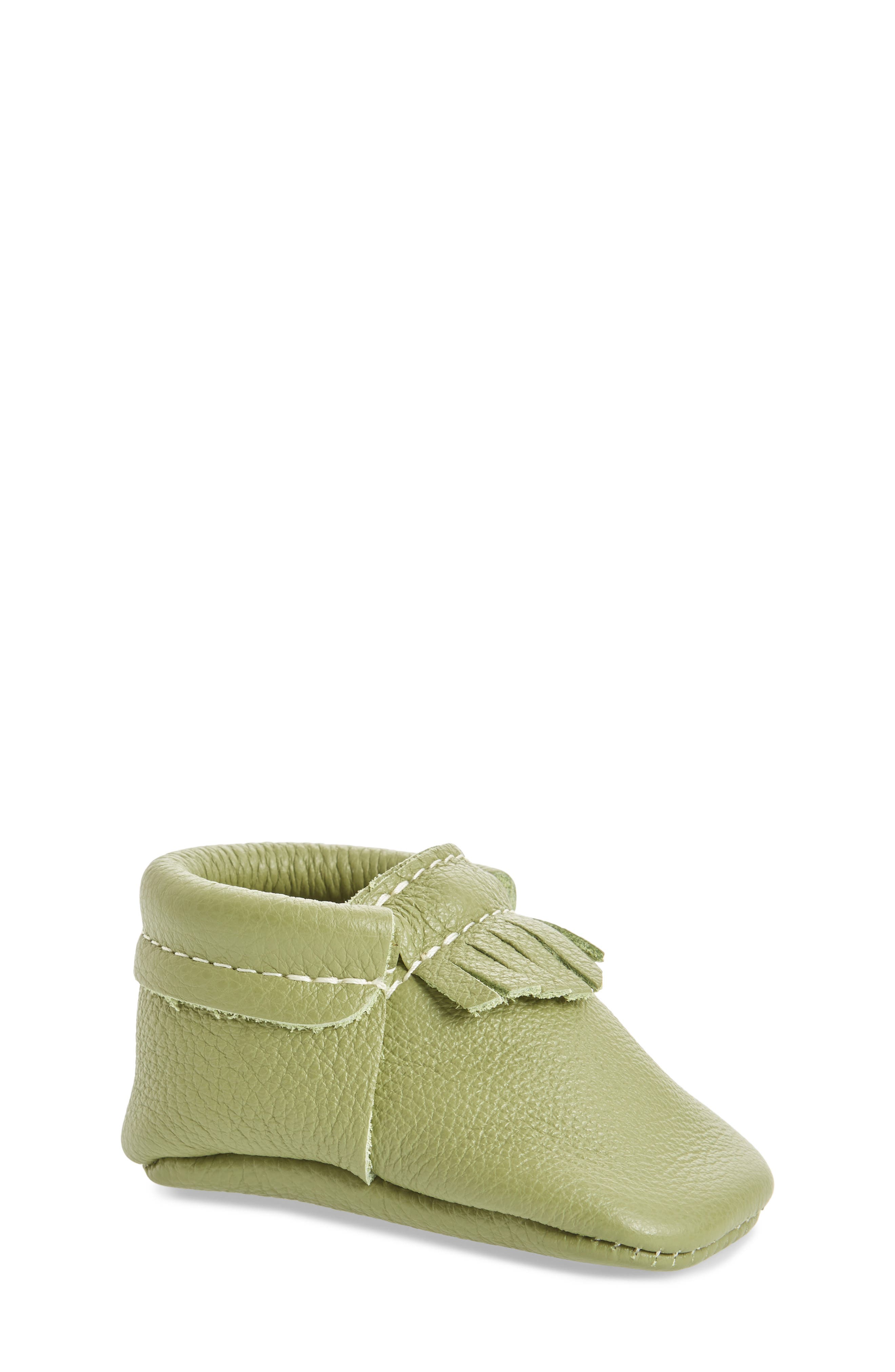 Leather Moccasin,                             Main thumbnail 1, color,                             GREEN LEATHER