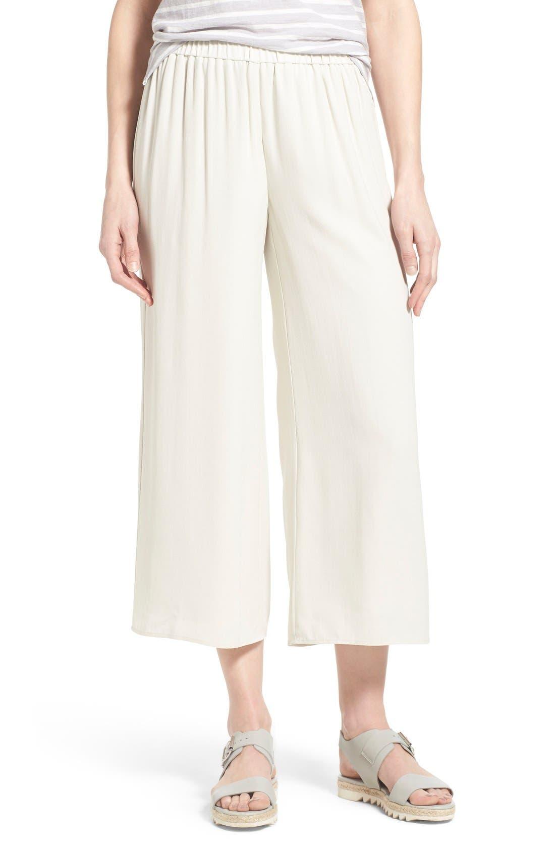 women's eileen fisher silk wide leg crop pants, size medium - beige
