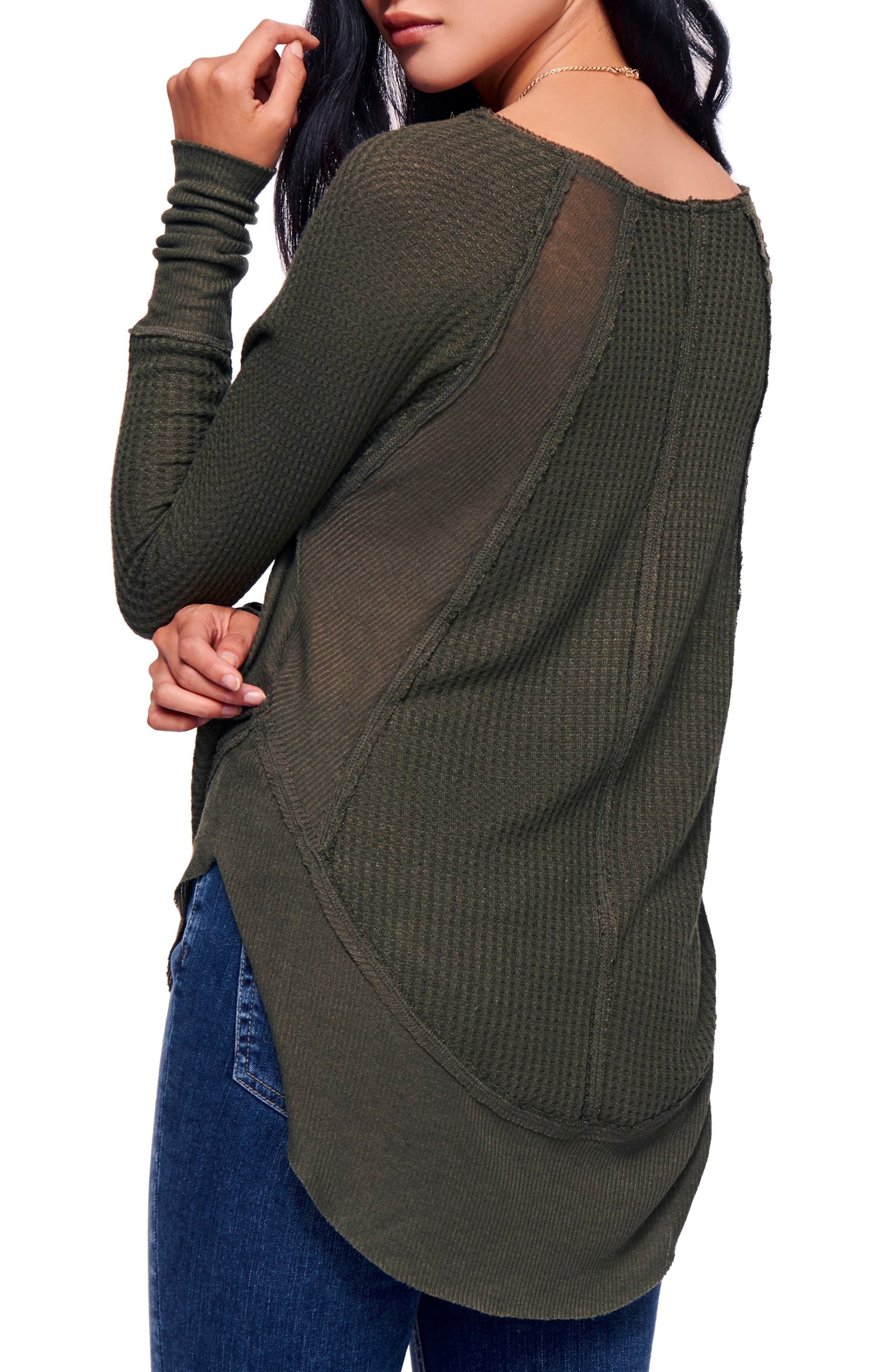 We the Free by Free People Catalina V-Neck Thermal Top,                             Alternate thumbnail 2, color,                             MOSS