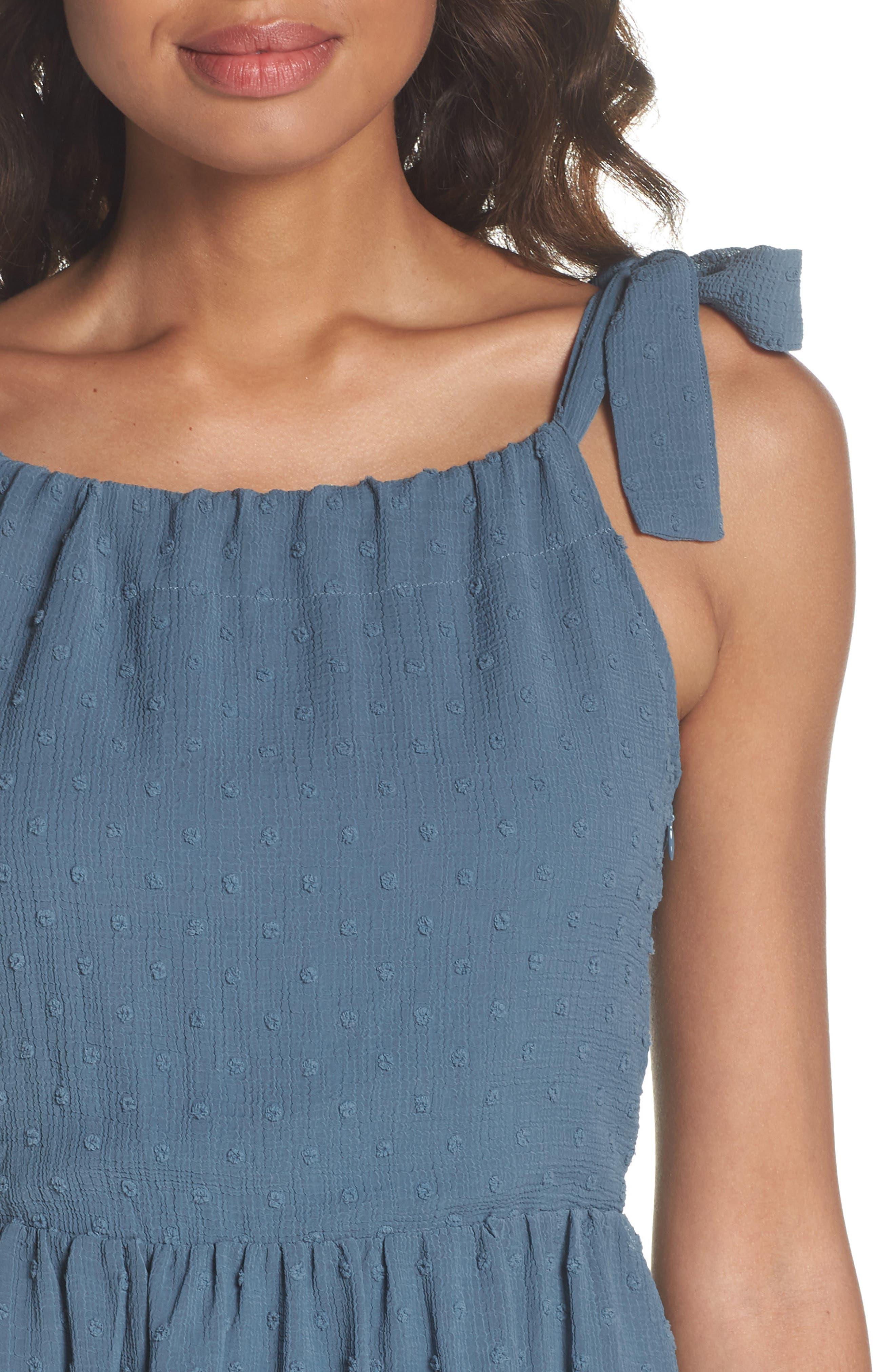 Tie Shoulder Midi Dress,                             Alternate thumbnail 4, color,                             400