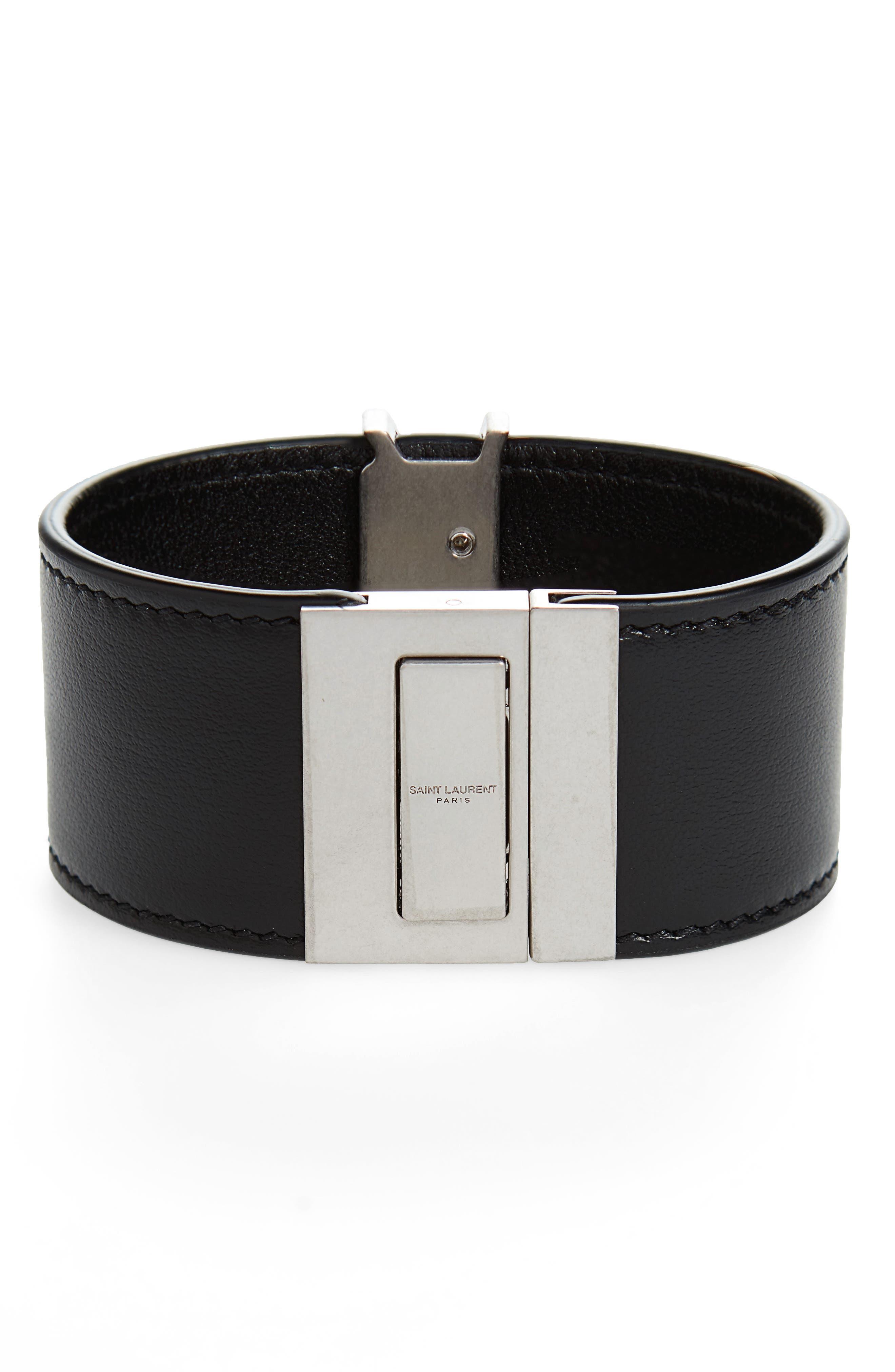 Leather Cuff Bracelet,                         Main,                         color, NERO