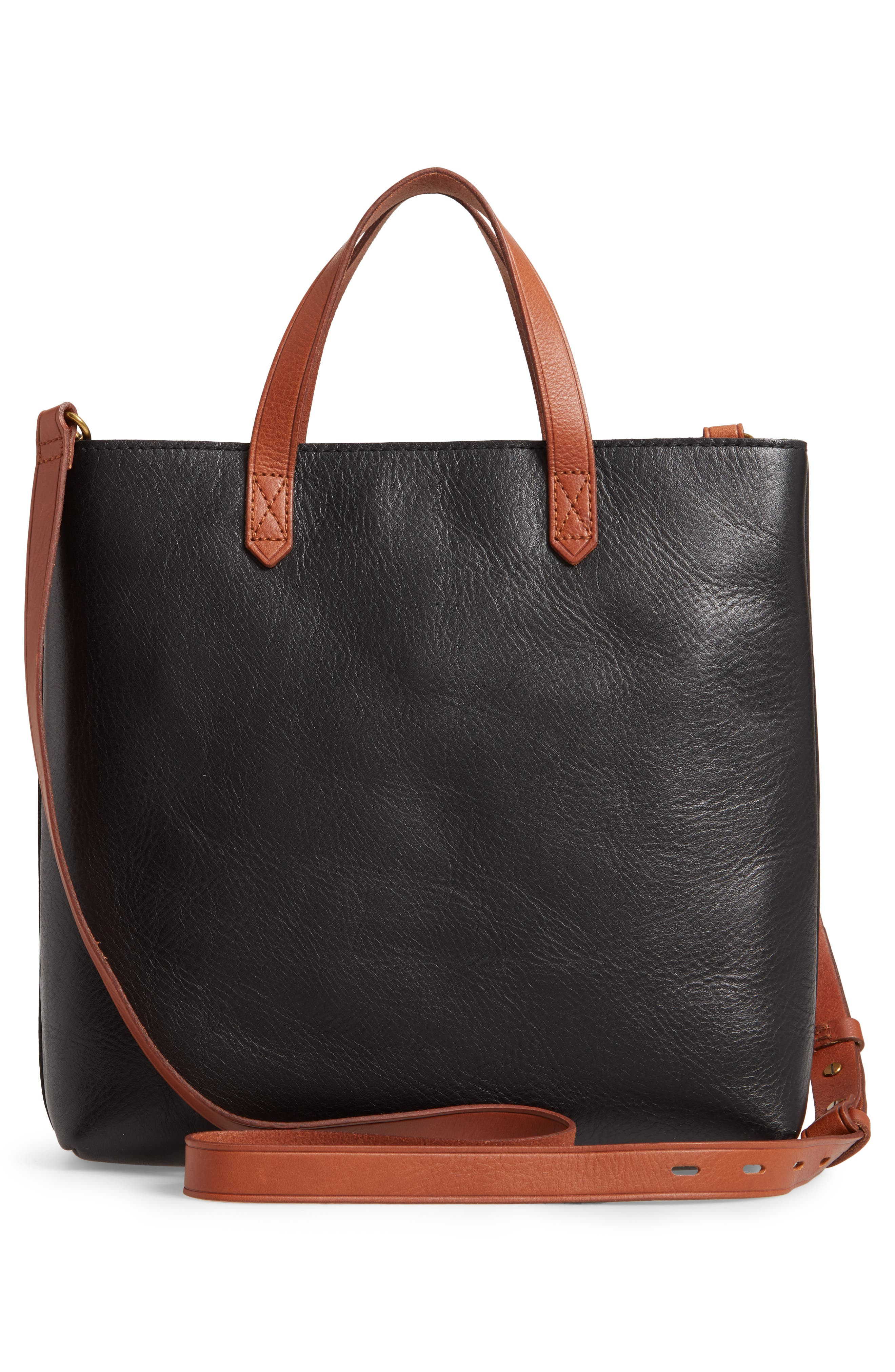 Small Transport Leather Crossbody Tote,                             Alternate thumbnail 3, color,                             TRUE BLACK W/ BROWN