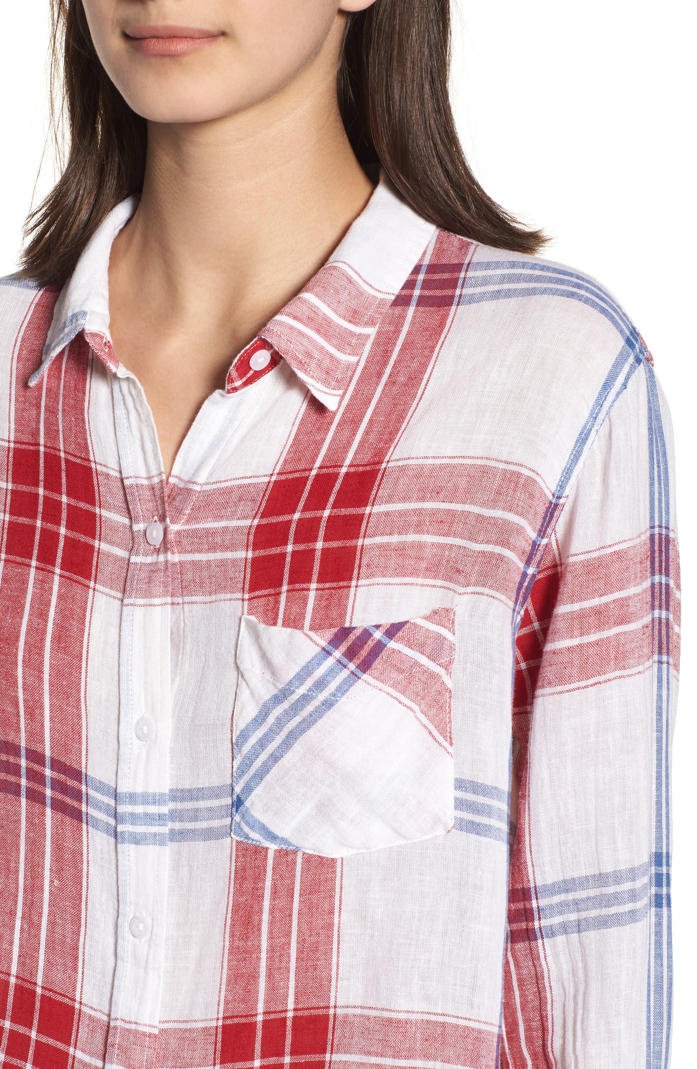 Charli Shirt,                             Alternate thumbnail 4, color,                             CARMINE BLUE WHITE