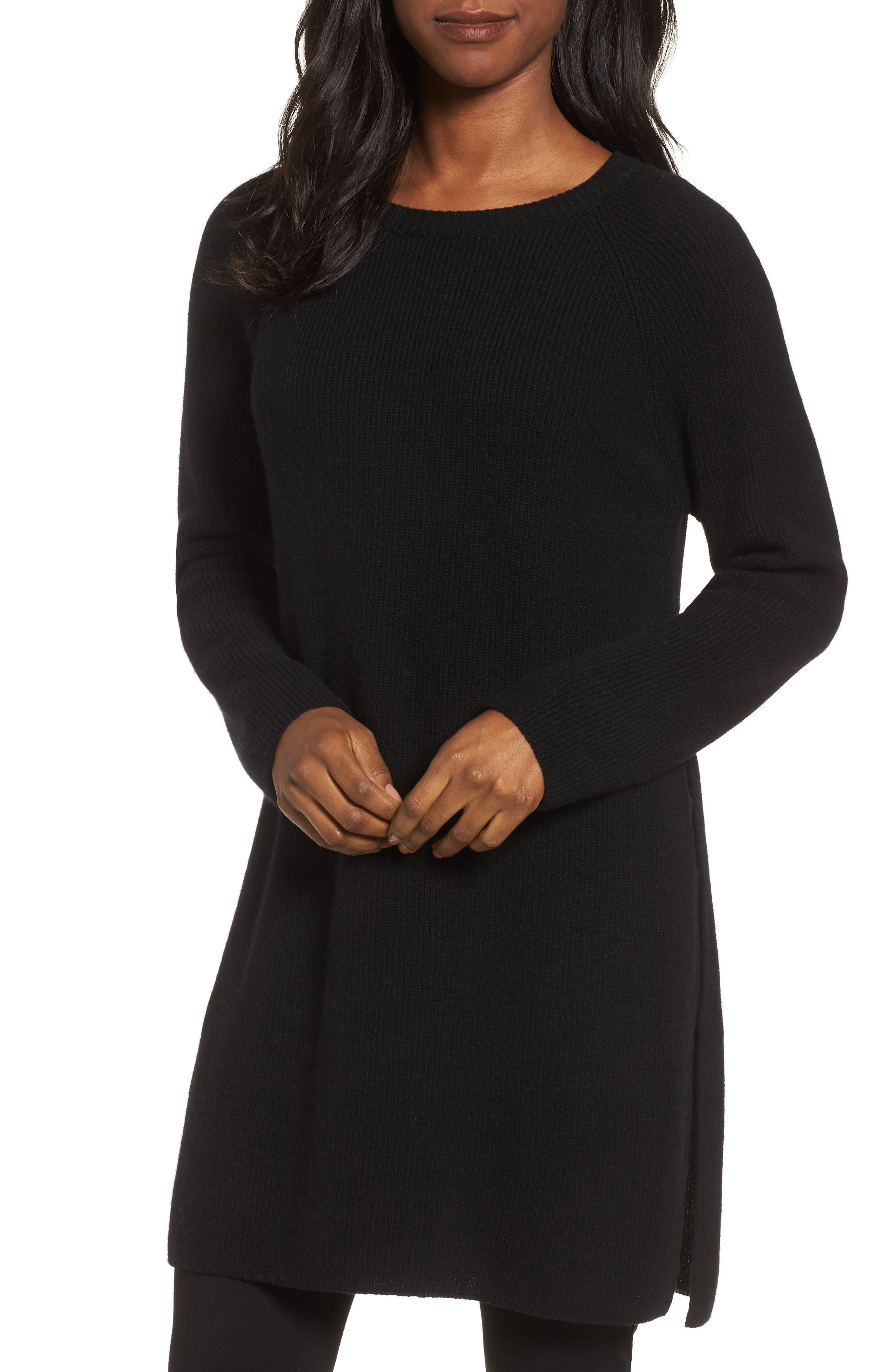 Cashmere Tunic Sweater,                             Main thumbnail 1, color,                             001
