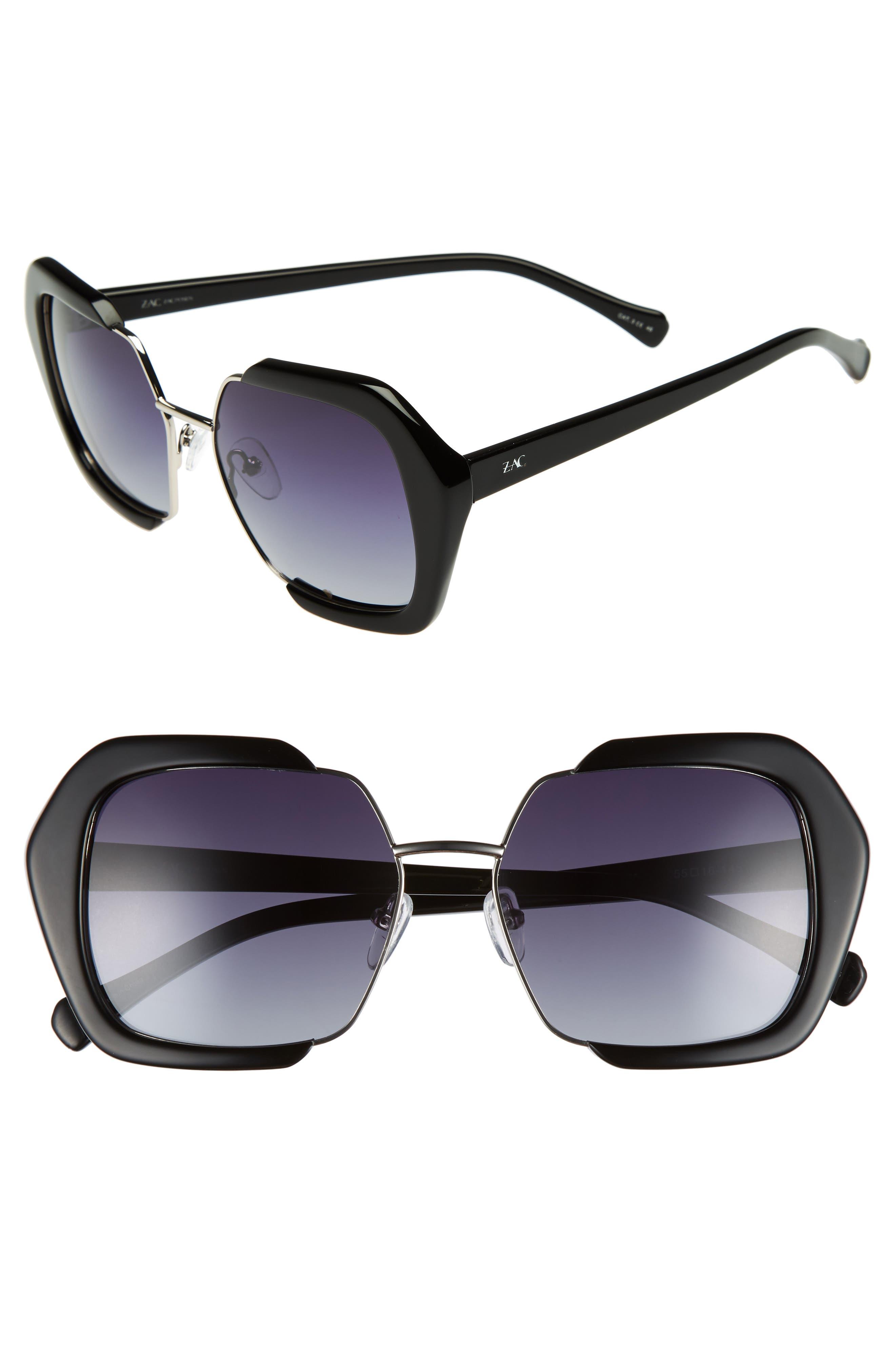 Isleen 55mm Polarized Sunglasses,                             Main thumbnail 1, color,                             BLACK POLAR